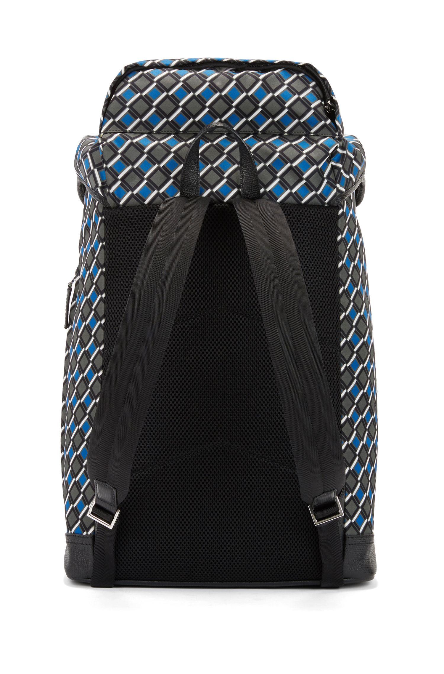 Bedruckter Rucksack aus Nylon-Gabardine mit Lederbesatz, Gemustert