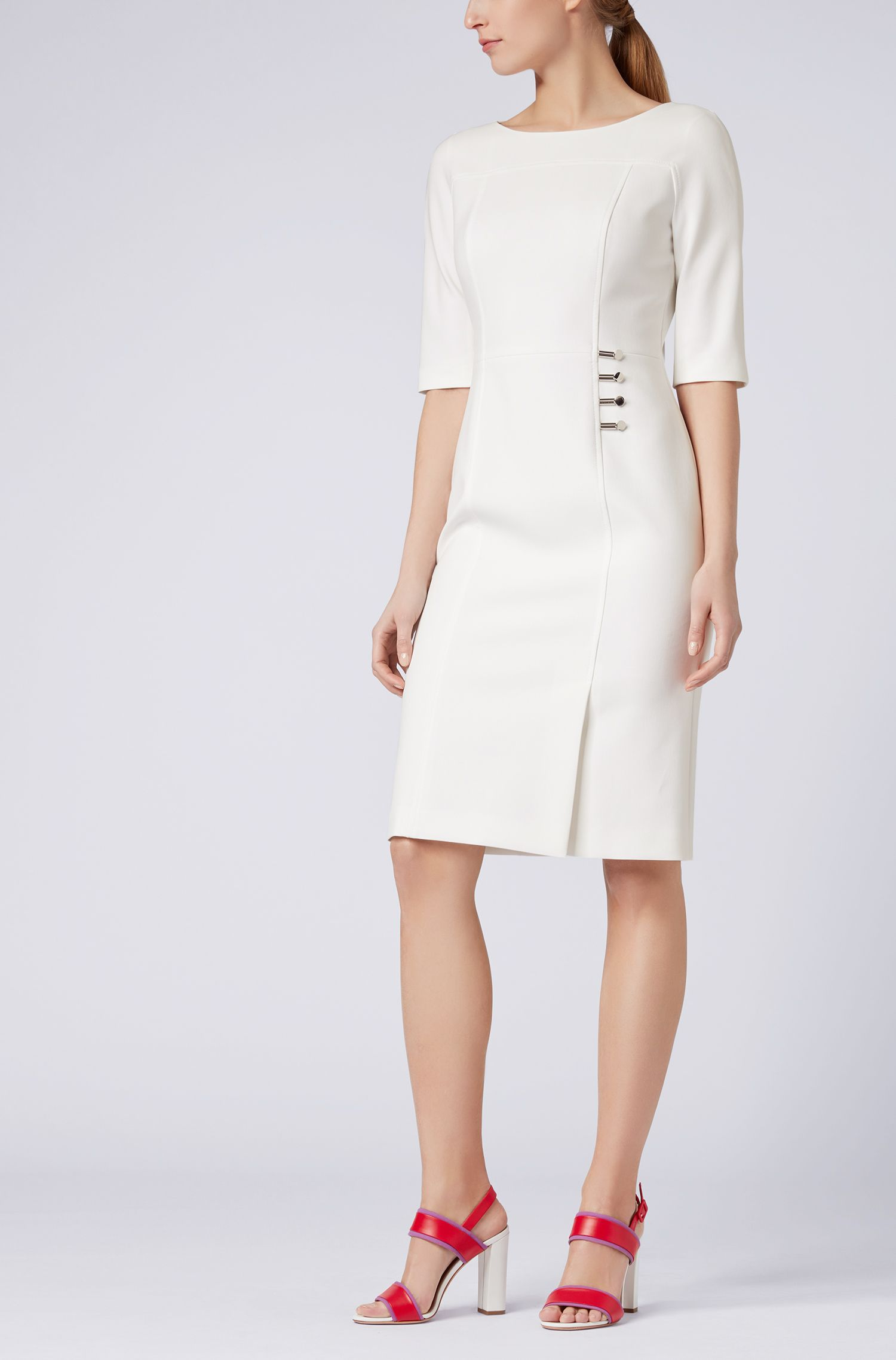 Hugo Boss - Three-quarter-sleeve dress with button detailing - 2