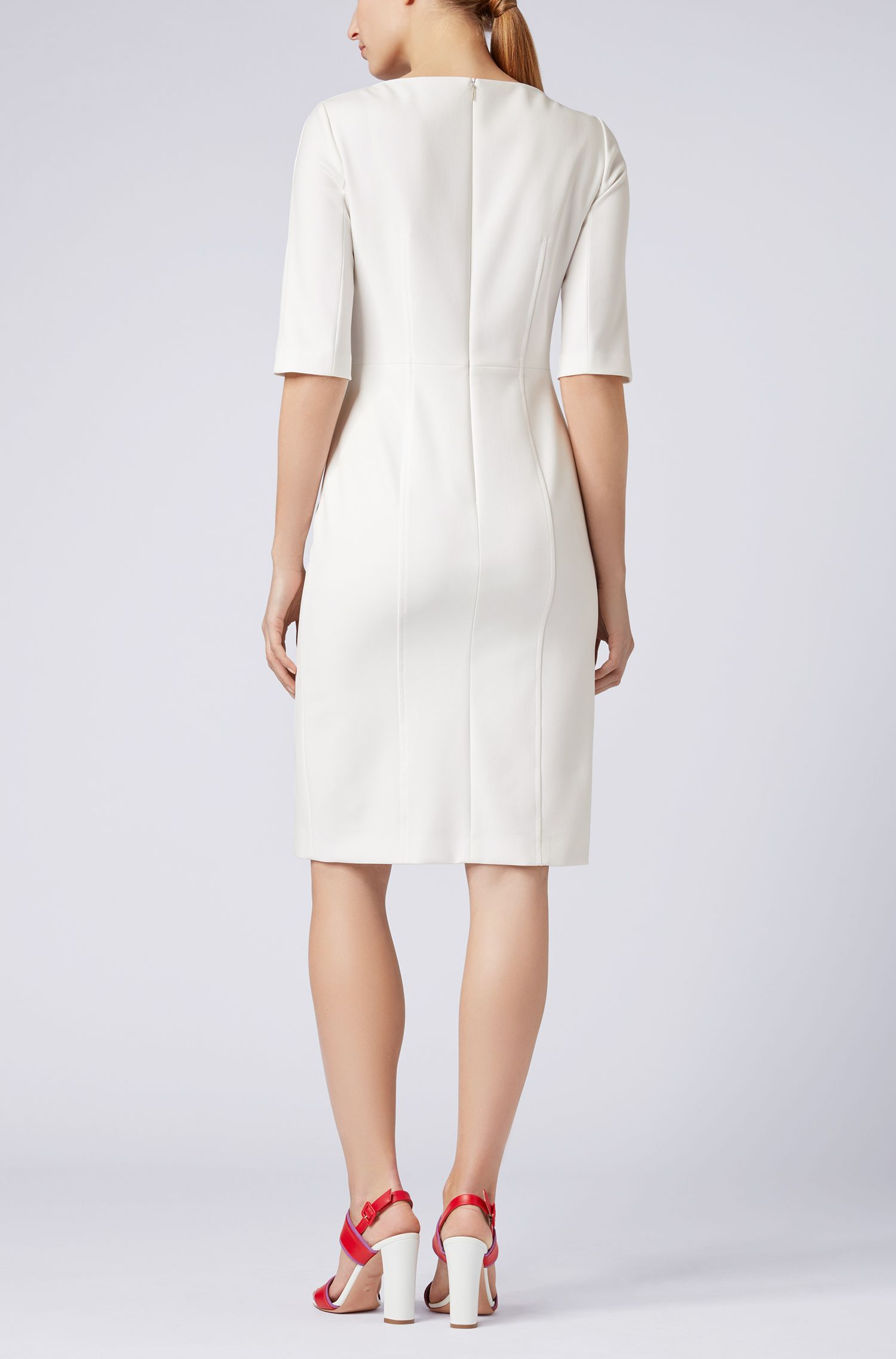 Three-quarter-sleeve dress with button detailing