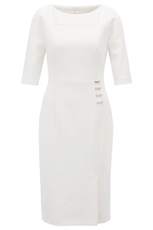 Hugo Boss - Three-quarter-sleeve dress with button detailing - 1
