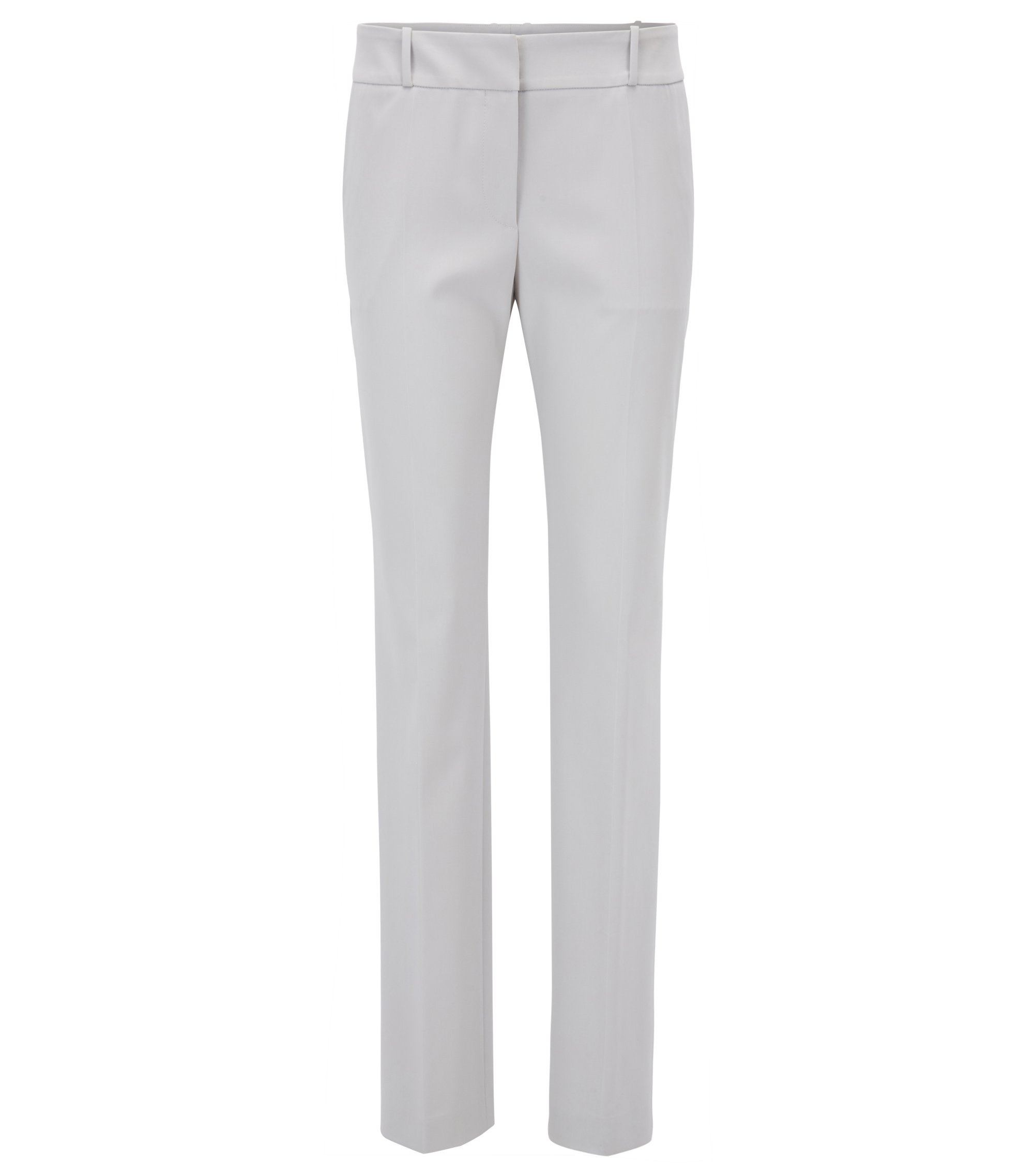 Regular-fit trousers in a stretch virgin-wool blend, Silver