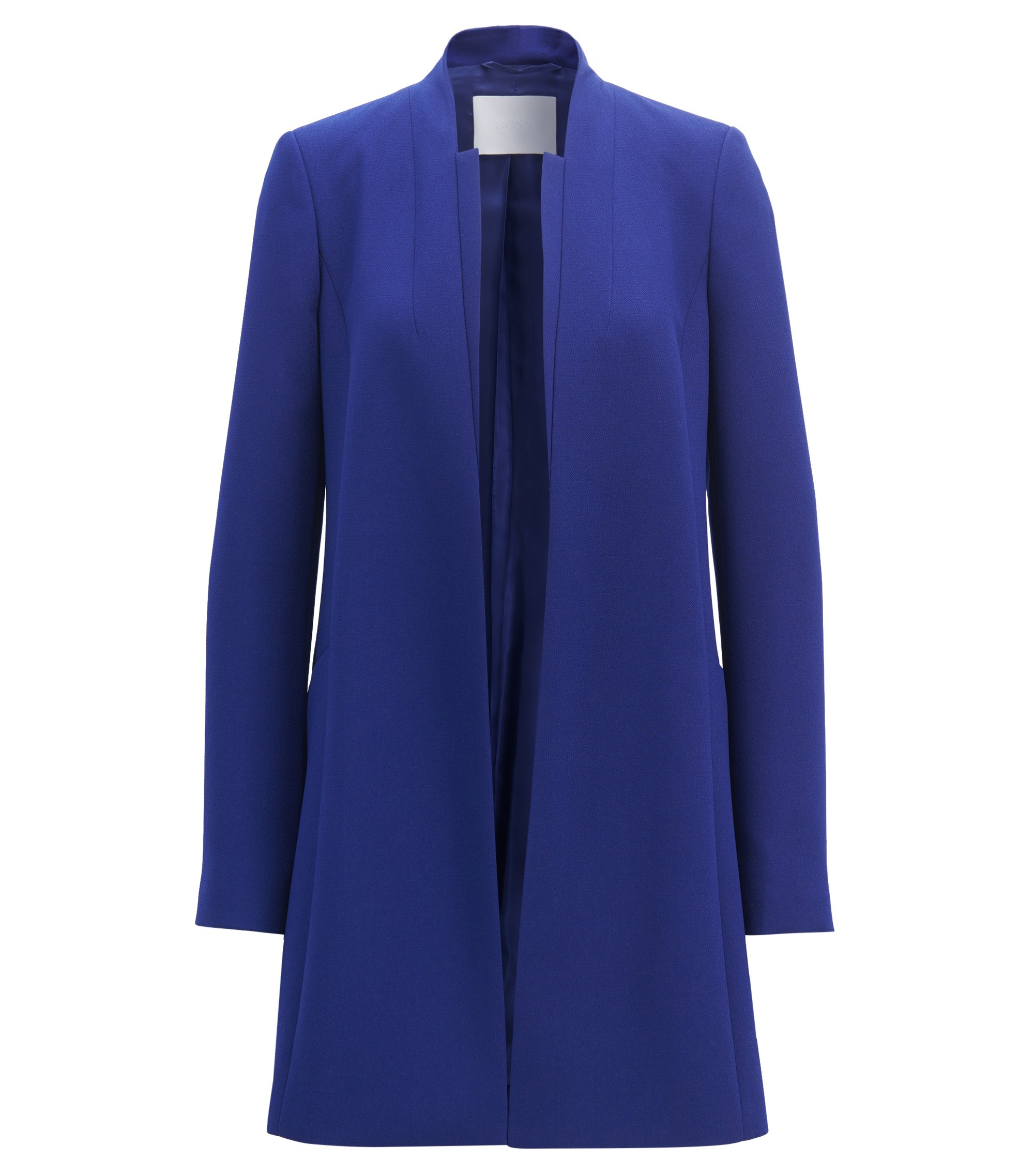 Regular-fit collarless coat in crepe with layered front, Open Purple