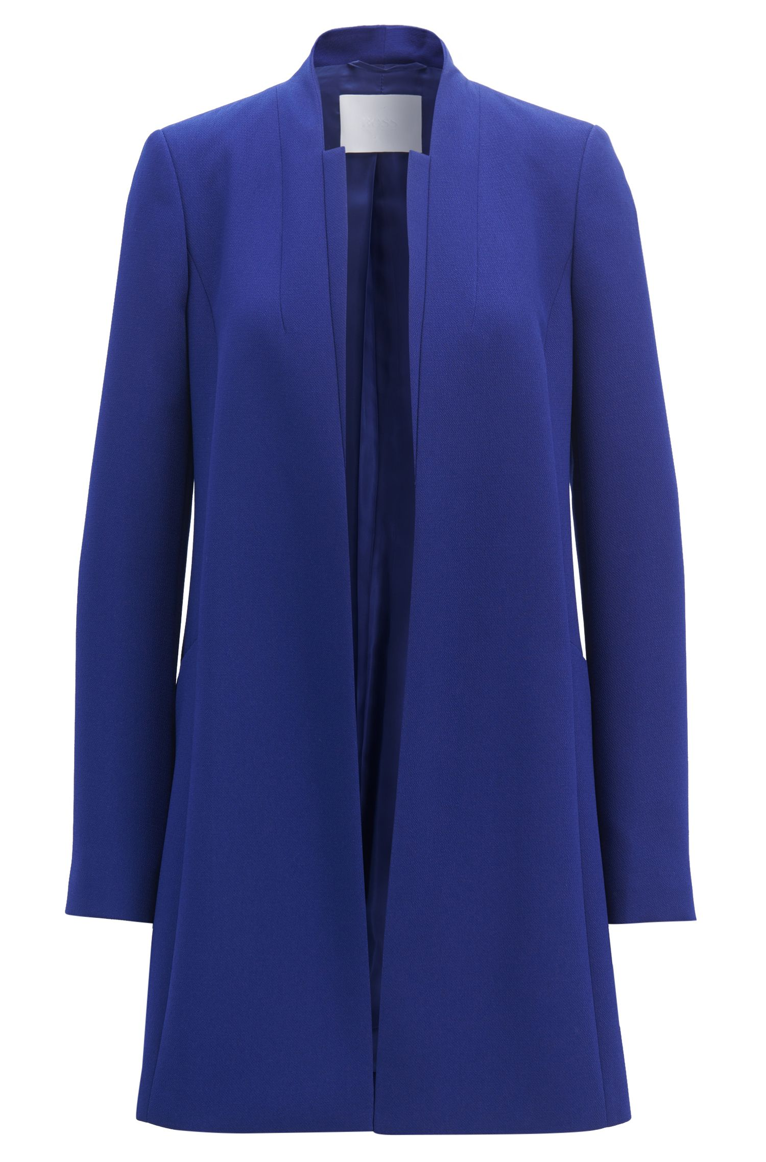 Regular-fit collarless coat in crepe with layered front
