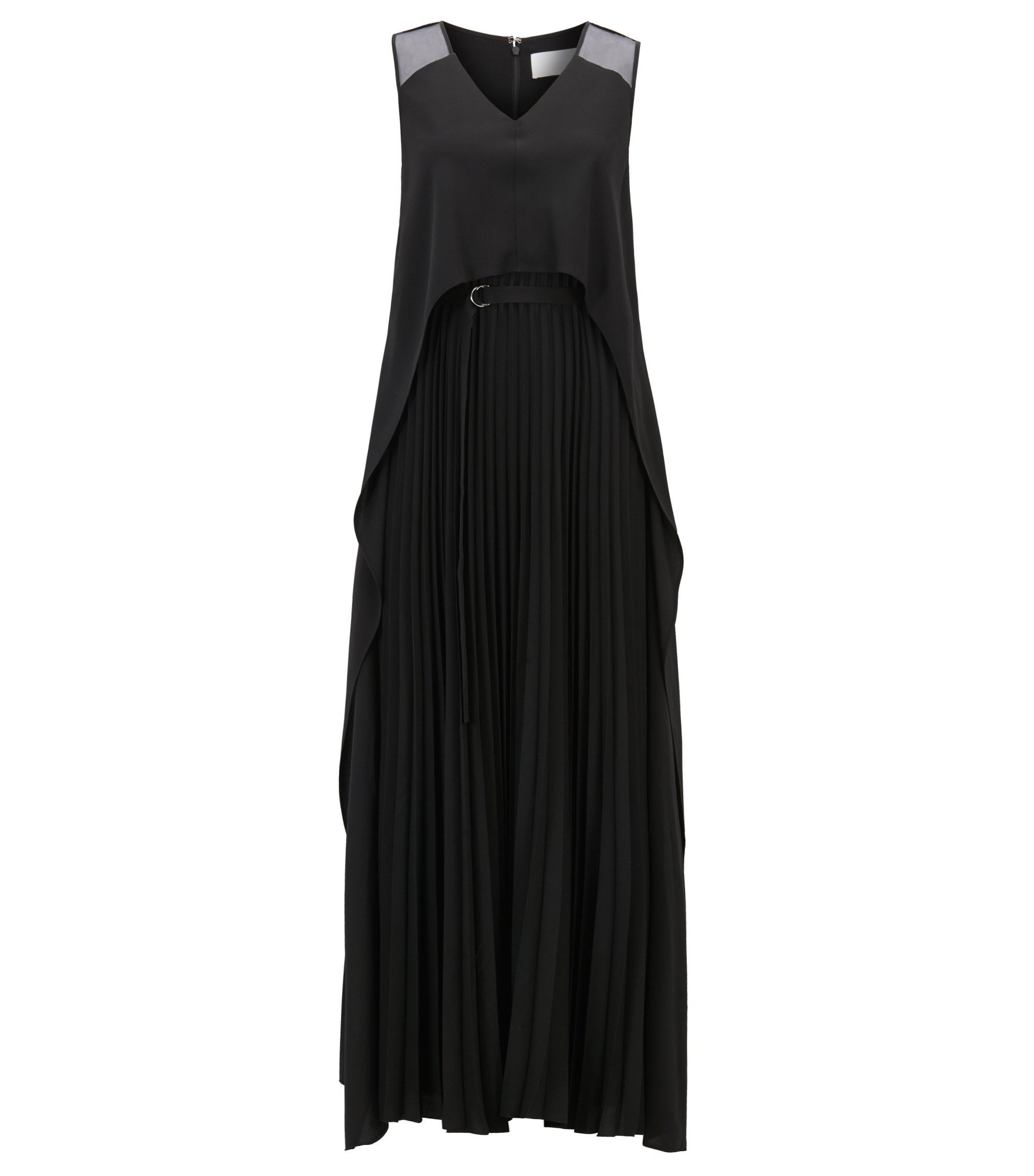 Layered crepe maxi dress with plissé skirt, Black