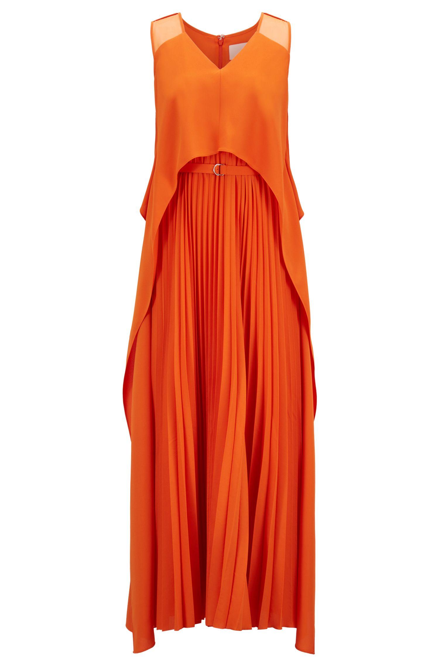 Gelaagde maxi-jurk van crêpe met plissérok, Oranje