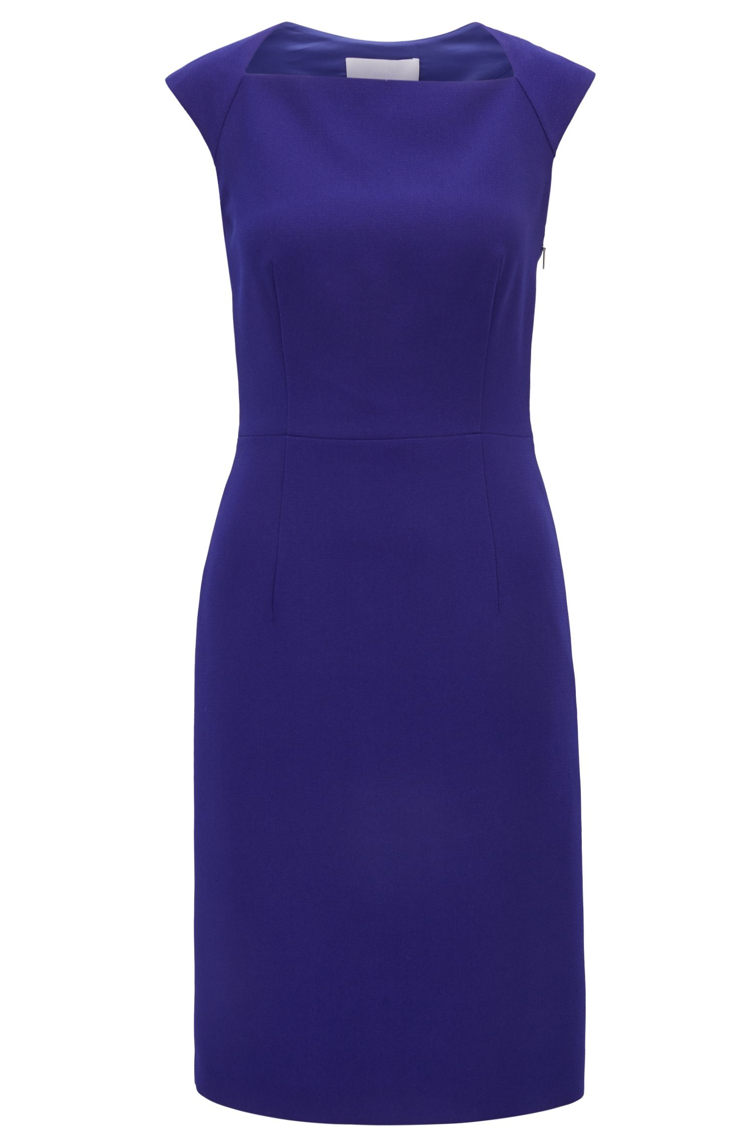 Sleeveless crepe dress with cutaway back BOSS
