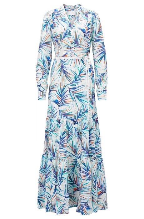 b0ac80a2fa3e52 Zeer BOSS - Zijden maxi-jurk met lange mouwen en palmbladprint  FZ43