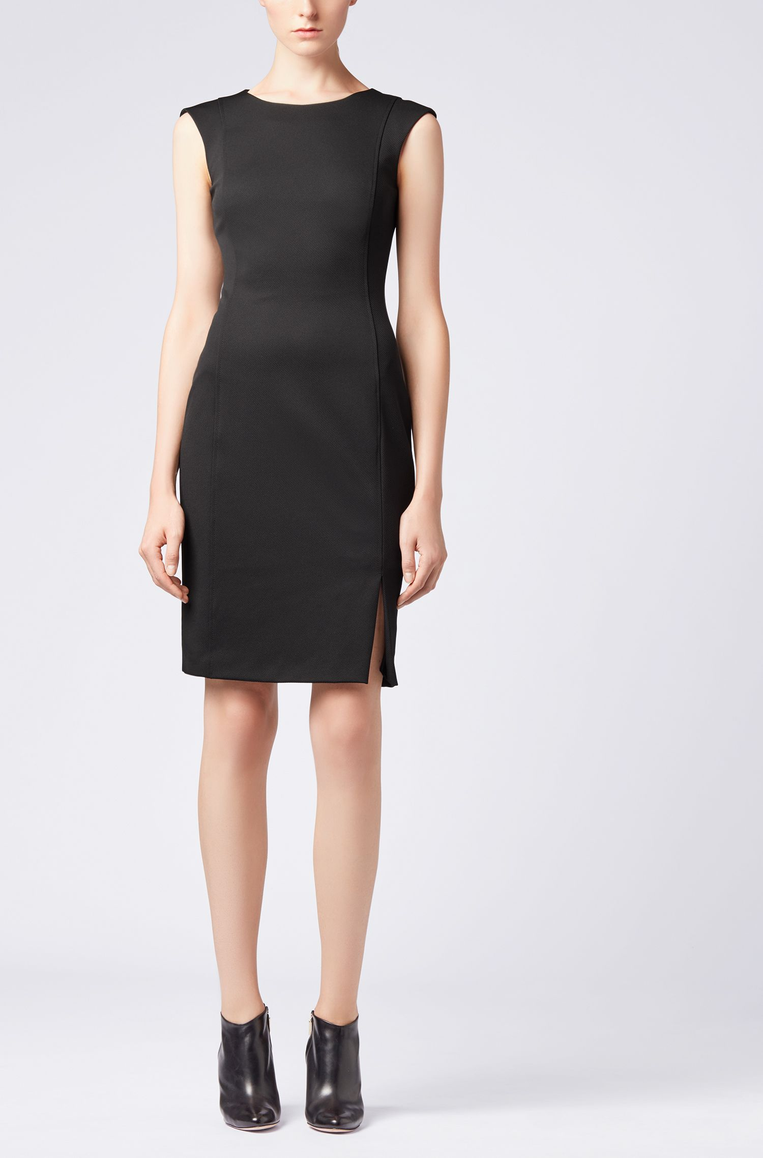 Shift dress in stretch twill with exposed zip, Black