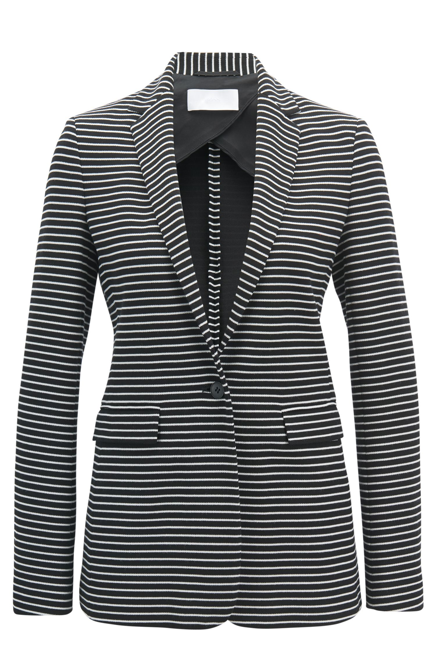 Slim-fit blazer in striped cotton-blend jersey, Patterned