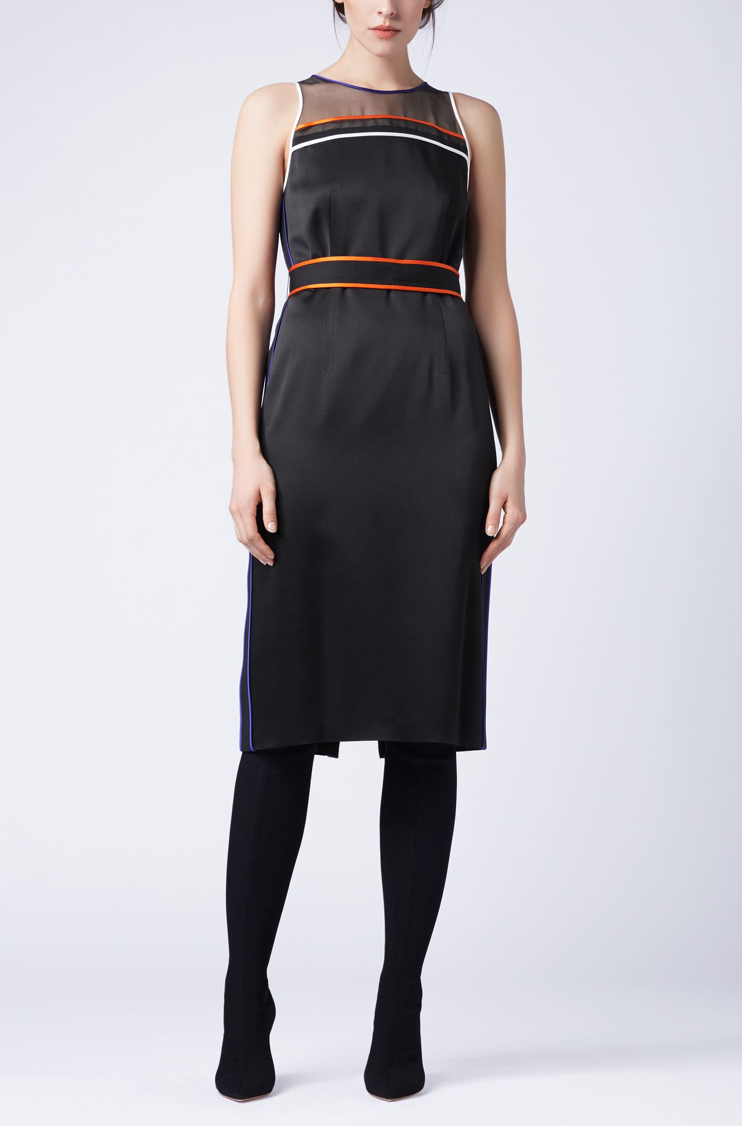 Sleeveless occasion dress with contrast-colour sporty piping