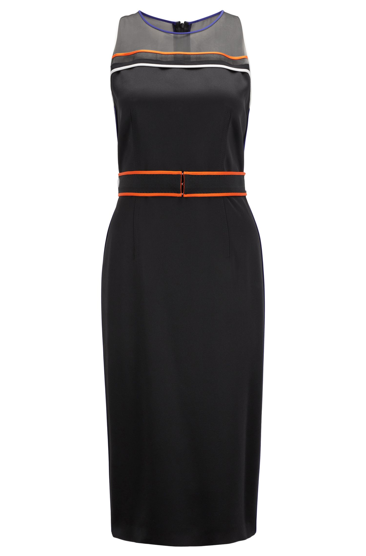 Sleeveless occasion dress with contrast-colour sporty piping, Black