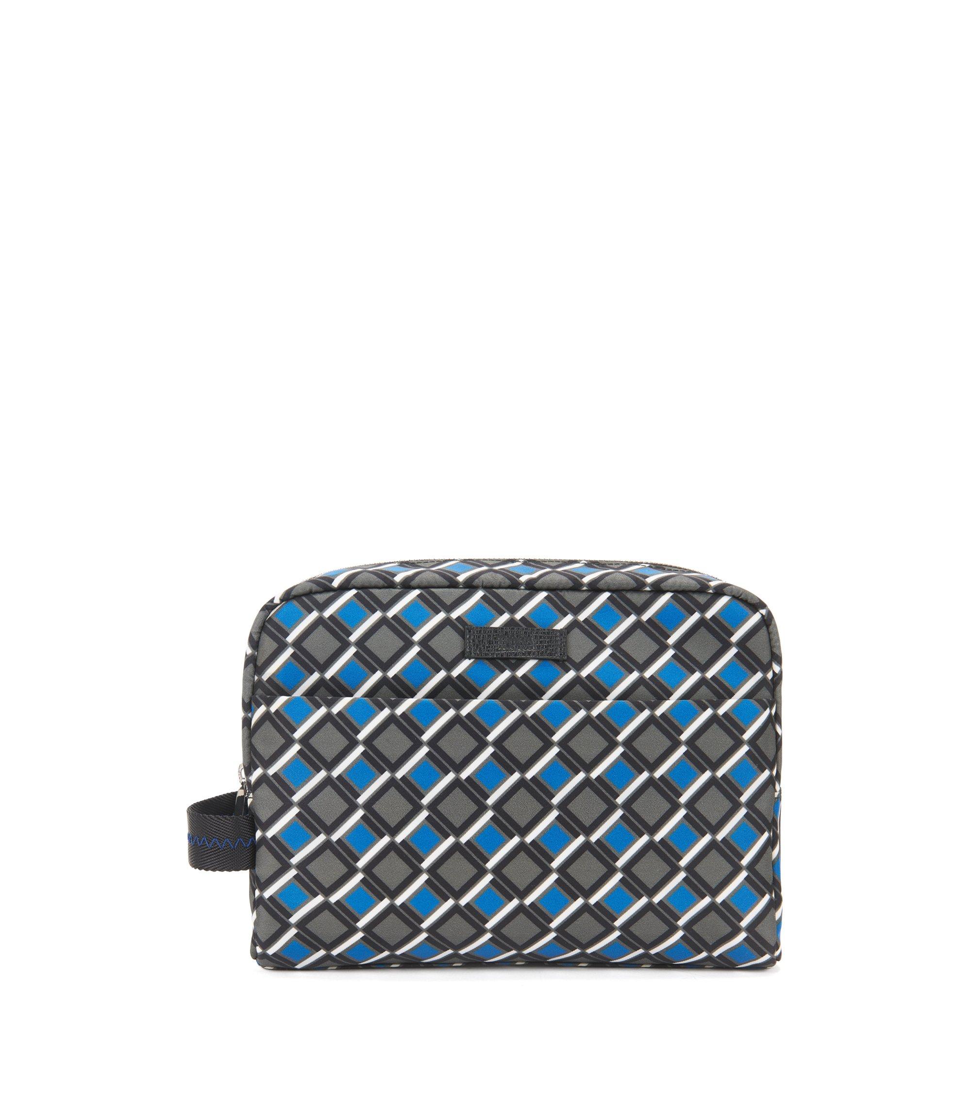 Washbag in gabardine nylon with geometric print, Patterned