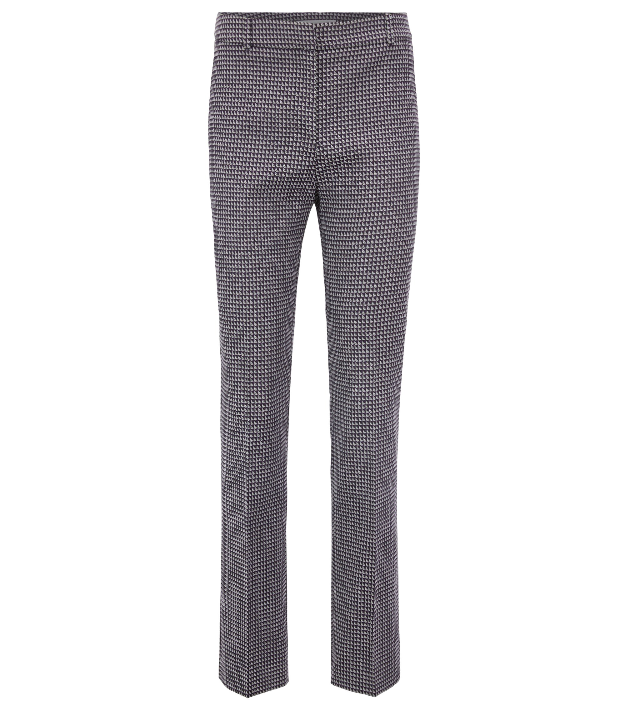 Regular-fit trousers in stretch cotton-blend jacquard, Patterned