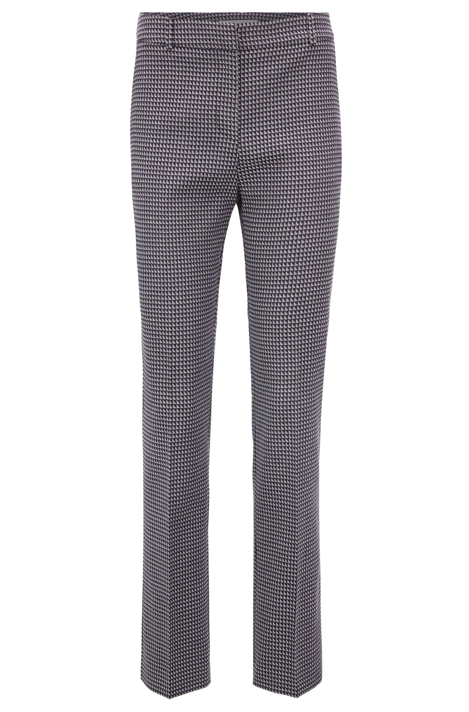 Pantalon Regular Fit en jacquard de coton stretch mélangé, Fantaisie