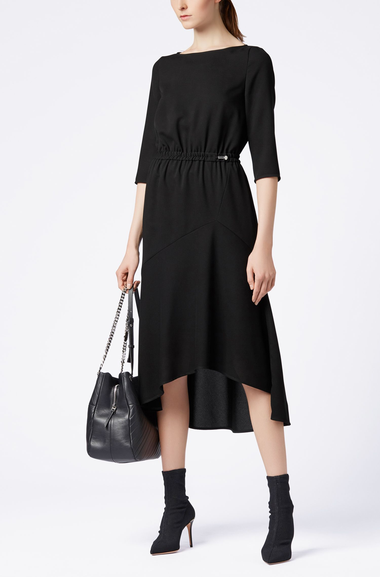 Crepe maxi dress with volant skirt