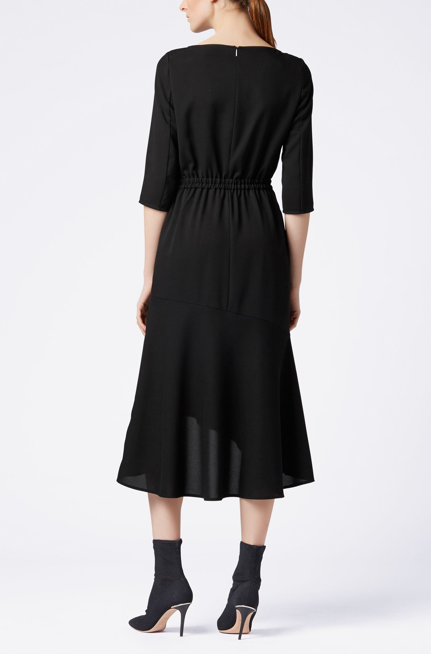 Hugo Boss - Crepe maxi dress with volant skirt - 3
