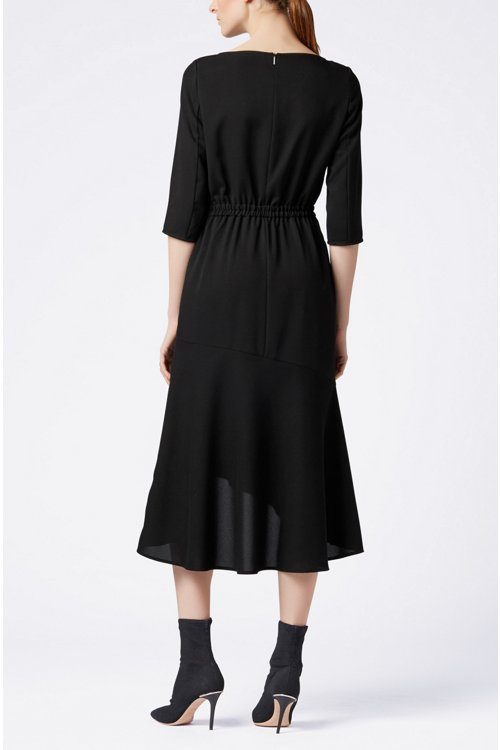 Hugo Boss - Crepe maxi dress with volant skirt - 3