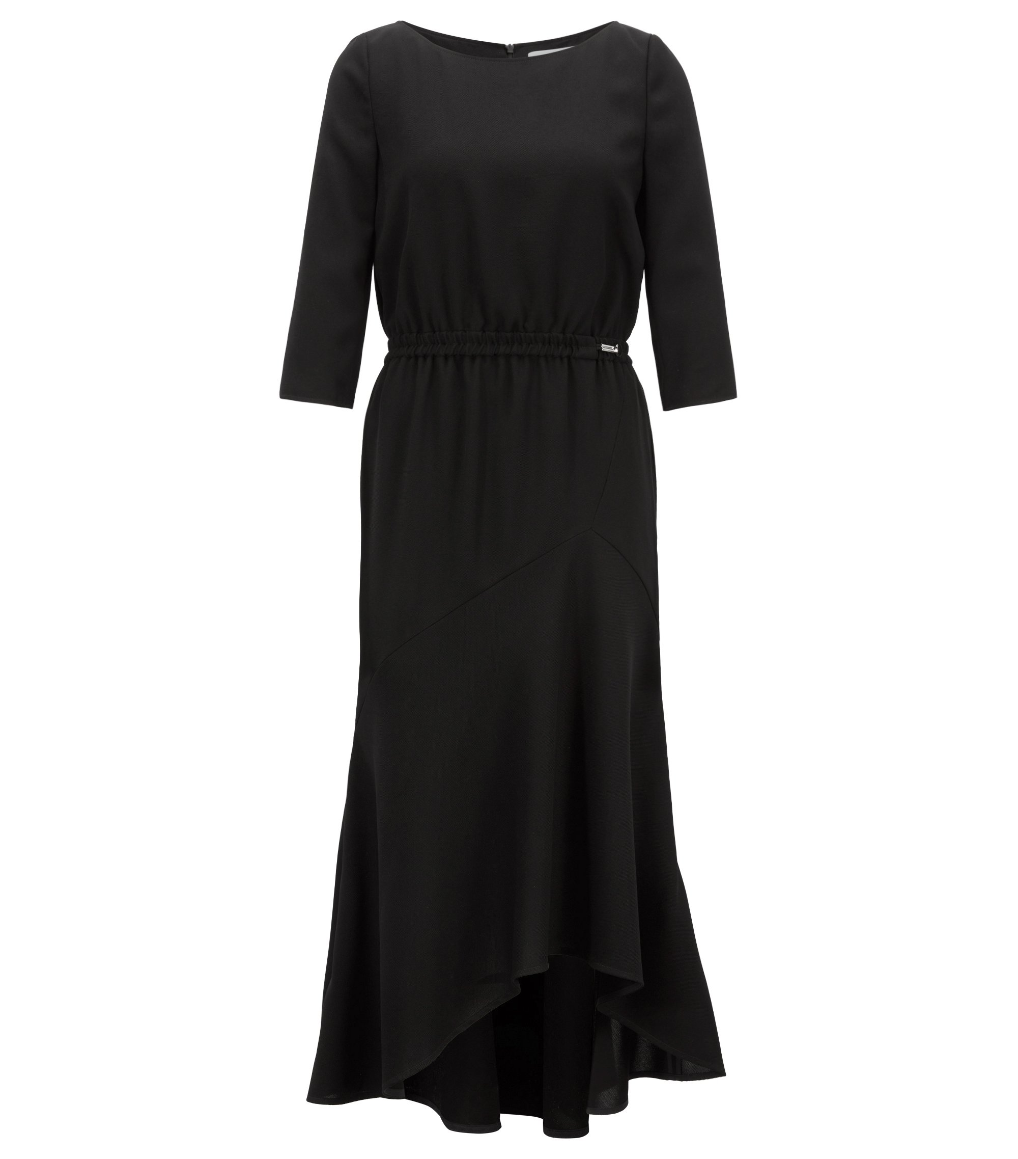 Crepe maxi dress with volant skirt, Black