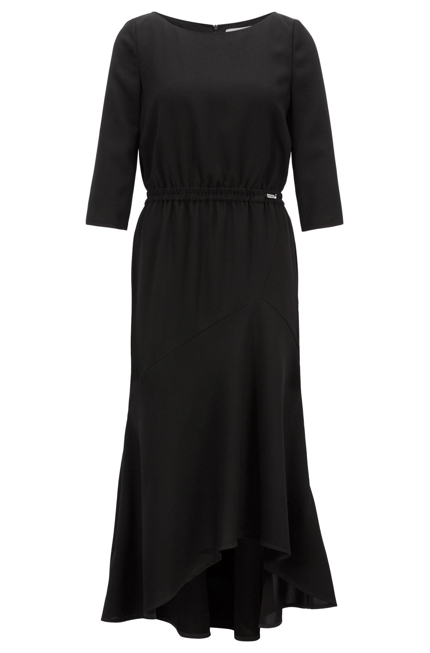 Crepe maxi dress with volant skirt, Black