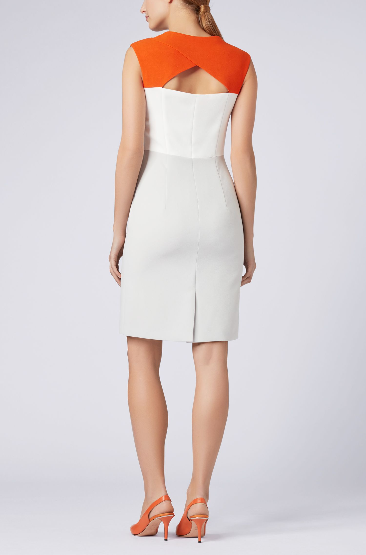 Colour-block dress in structured crepe, Silver
