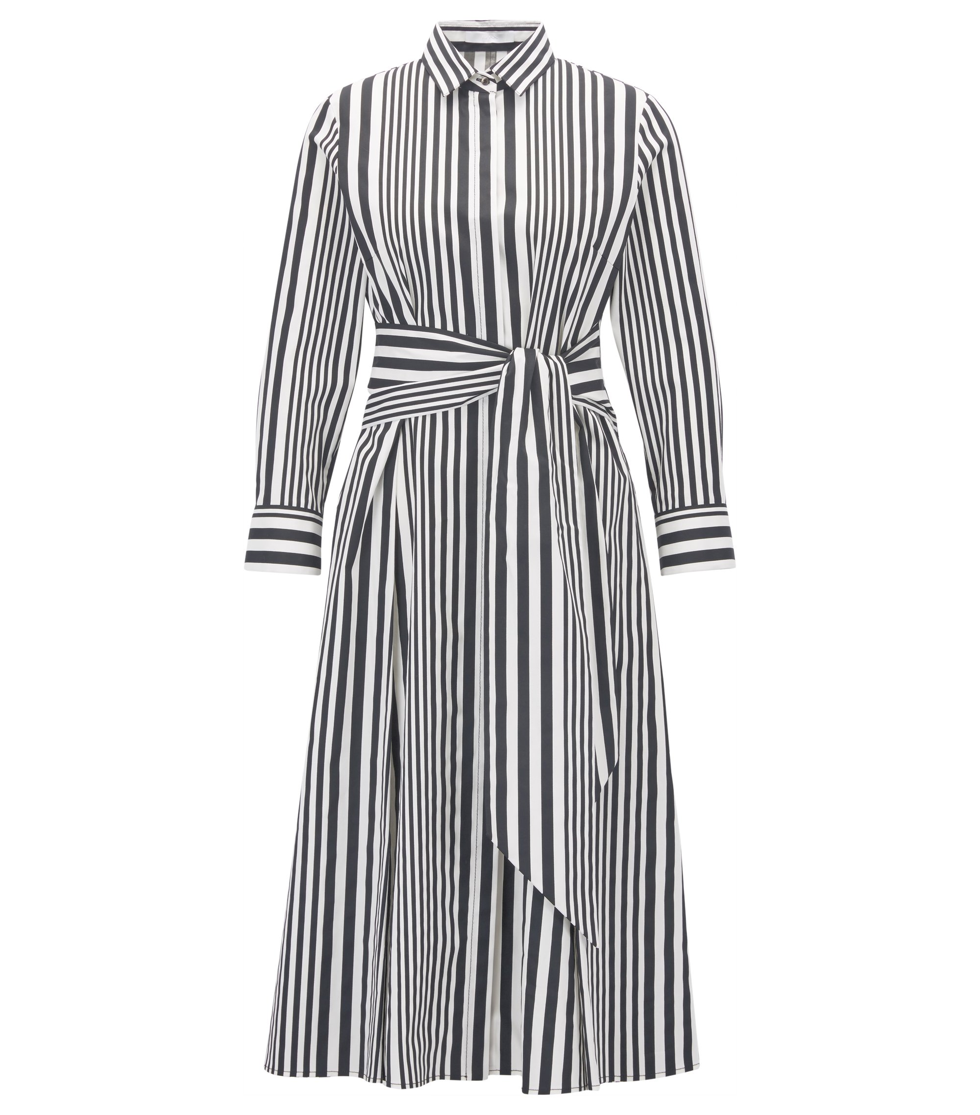 Striped cotton poplin shirt dress with tie waist, Patterned