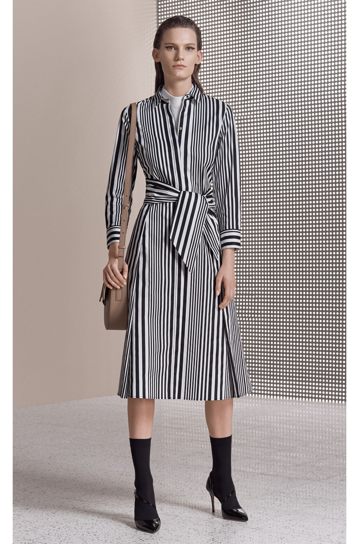 Striped cotton poplin shirt dress with tie waist BOSS