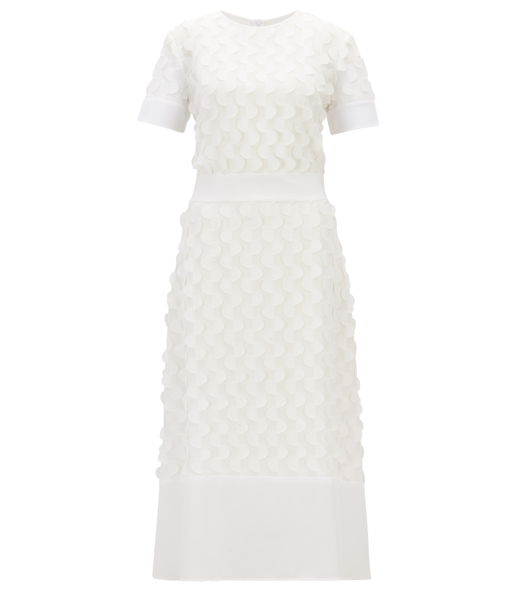 Short-sleeved dress in textured-effect crepe georgette, Natural