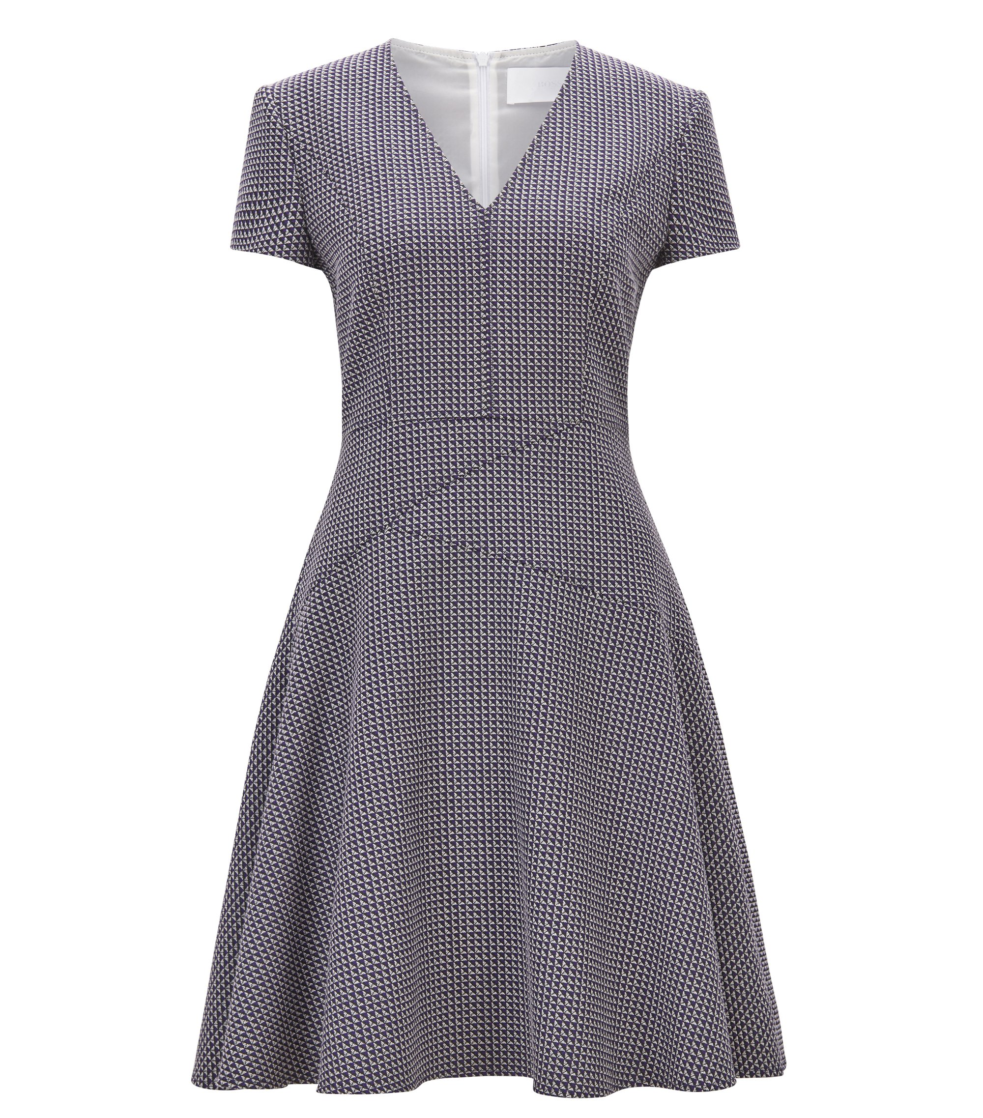 A-line dress in cotton-blend jacquard, Patterned
