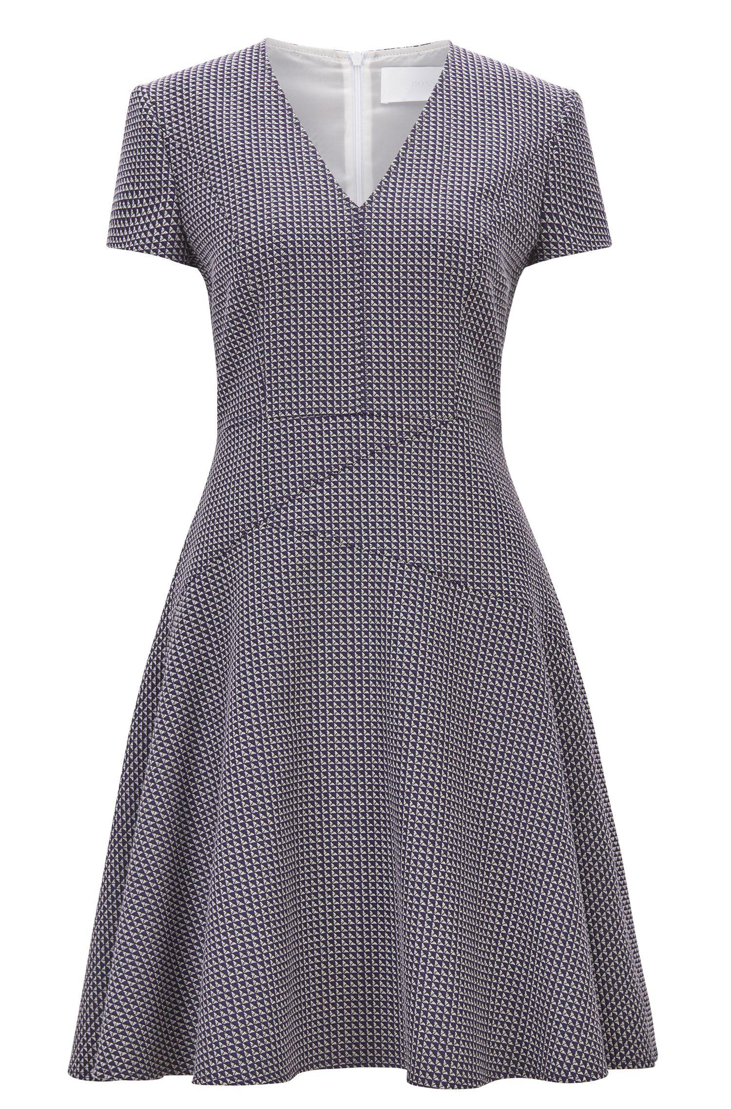 A-Linien-Kleid aus Jacquard, Gemustert