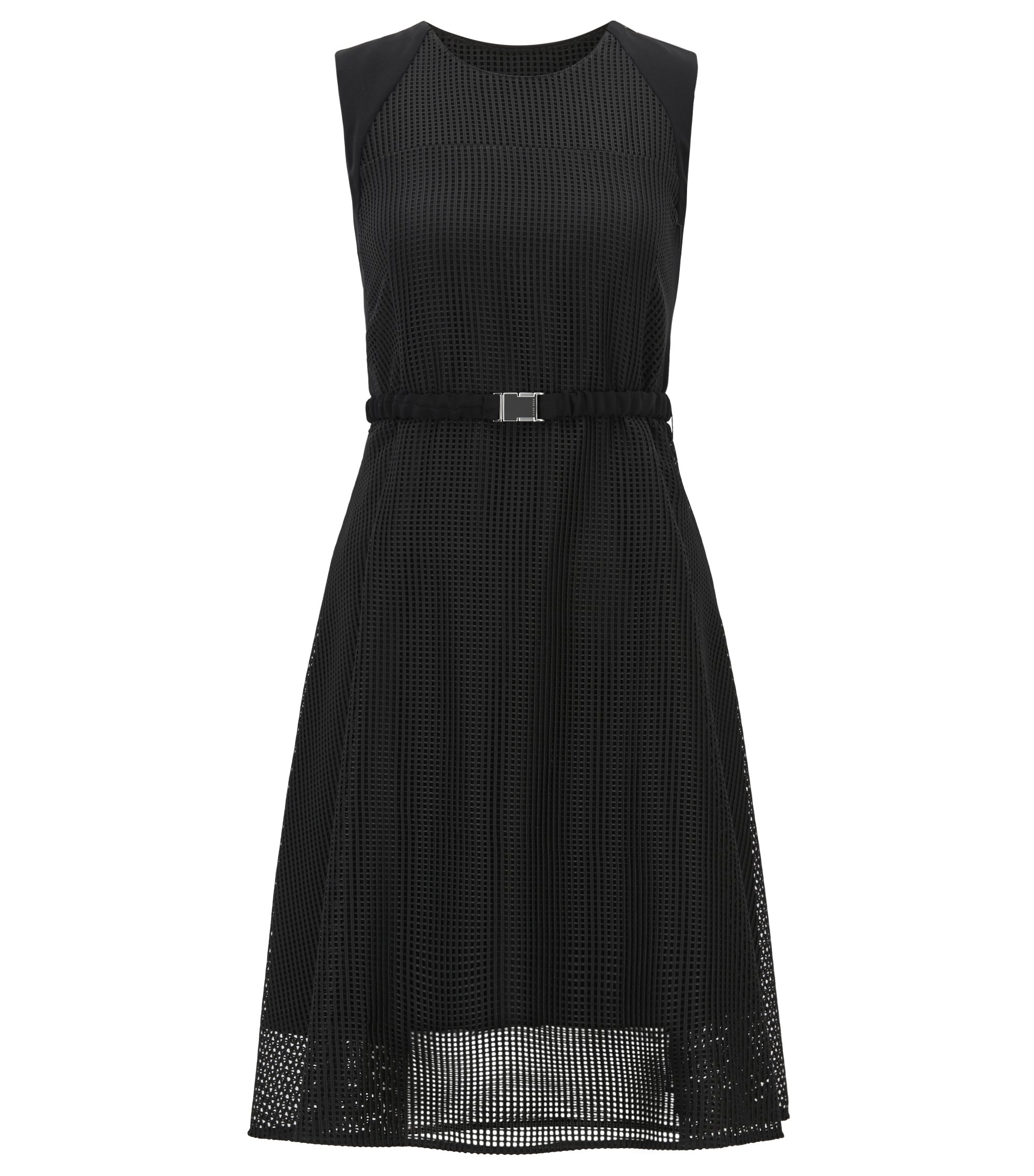 Sleeveless mesh dress with belt, Black