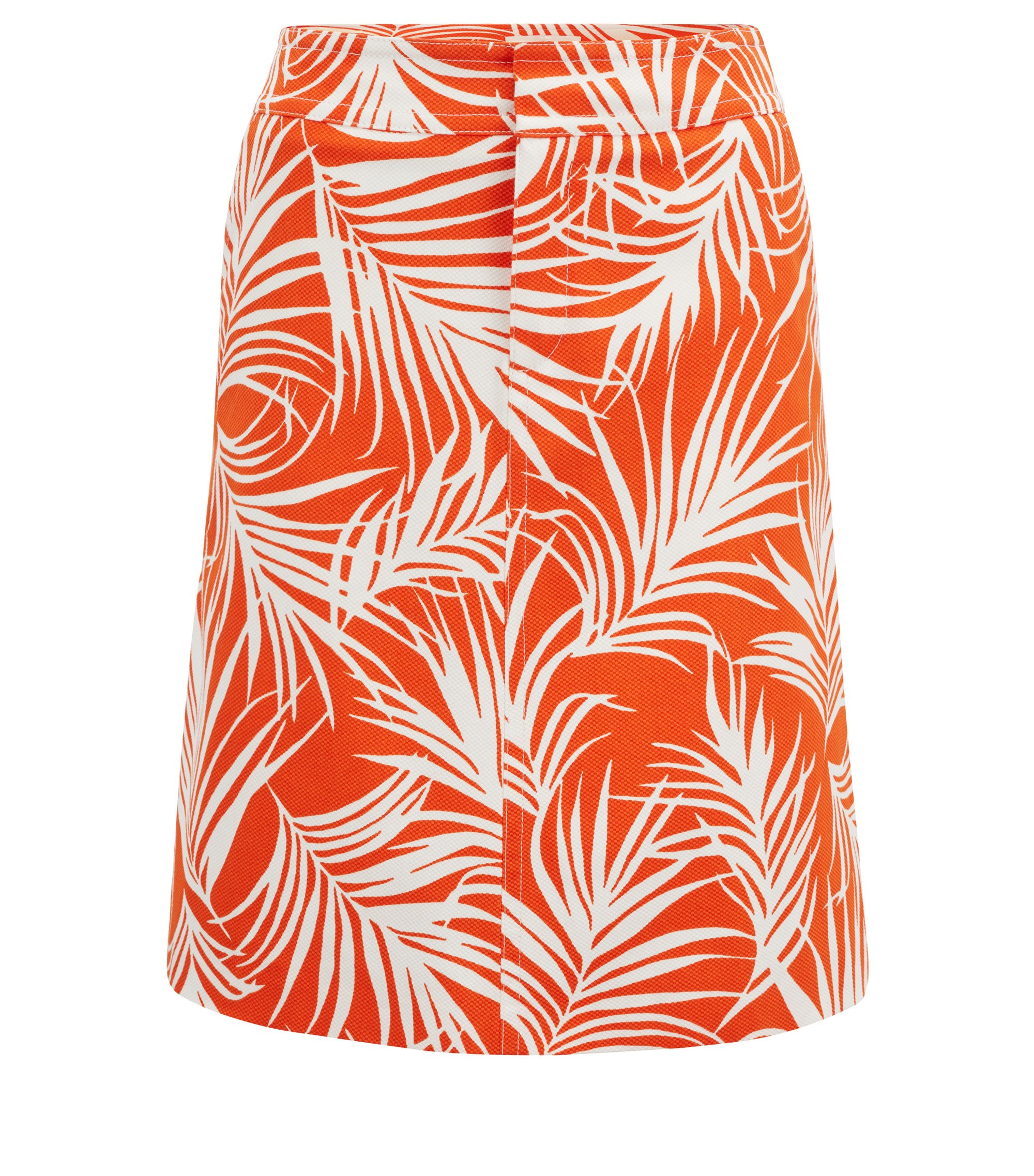 Stretch-cotton A-line skirt with palm-leaf print, Patterned
