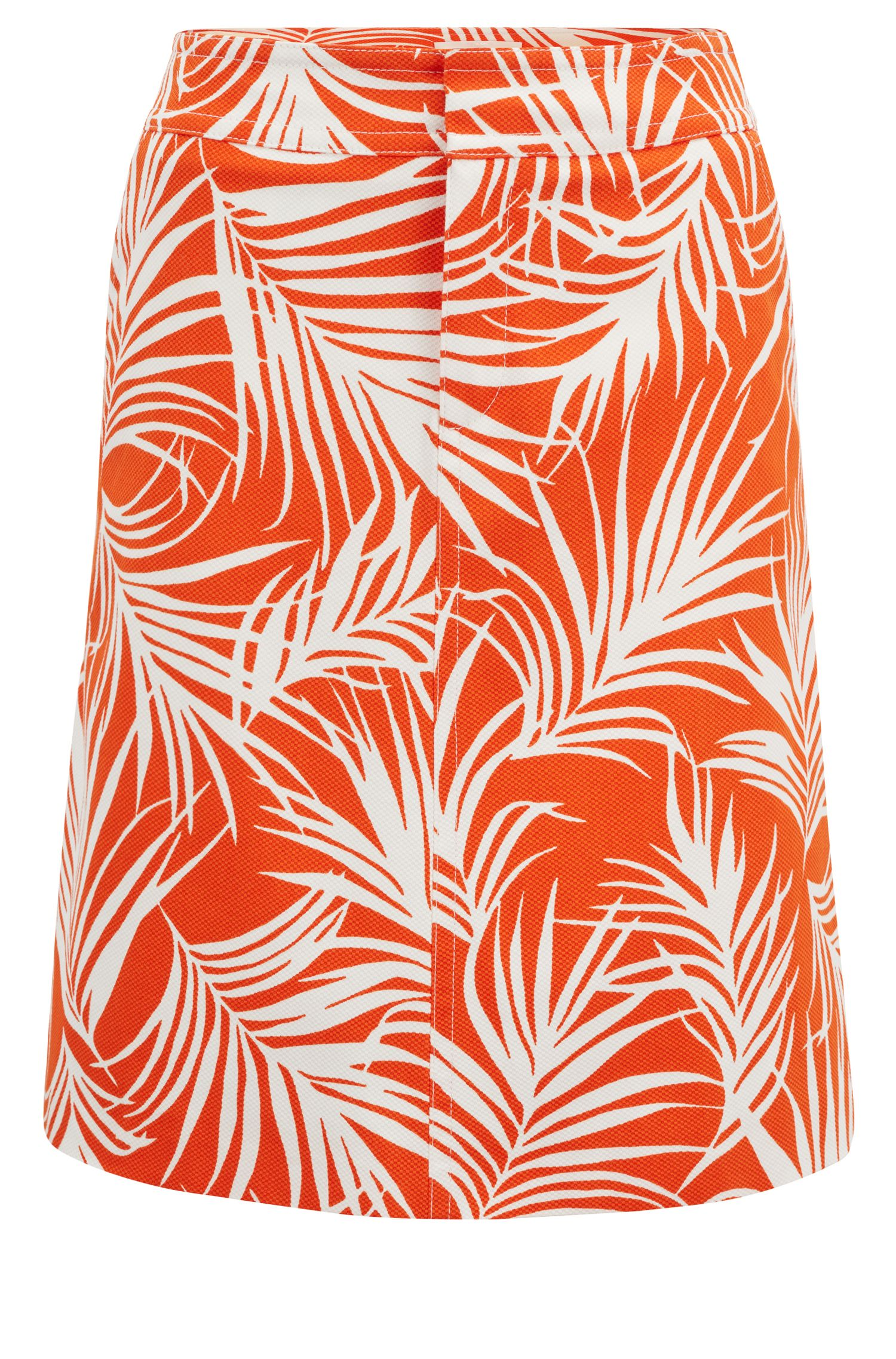 Stretch-cotton A-line skirt with palm-leaf print