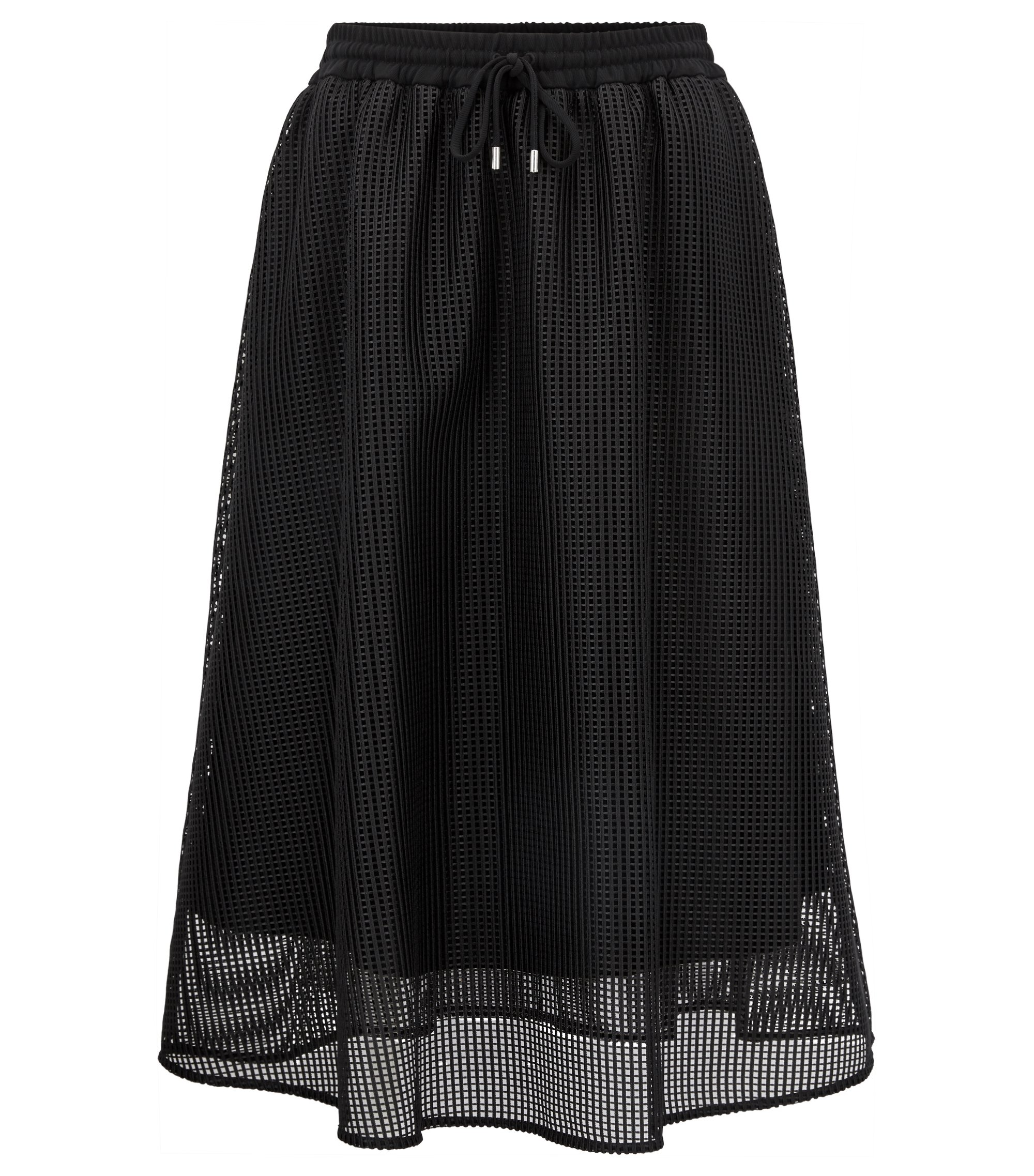 A-line mesh skirt with drawstring waist, Black