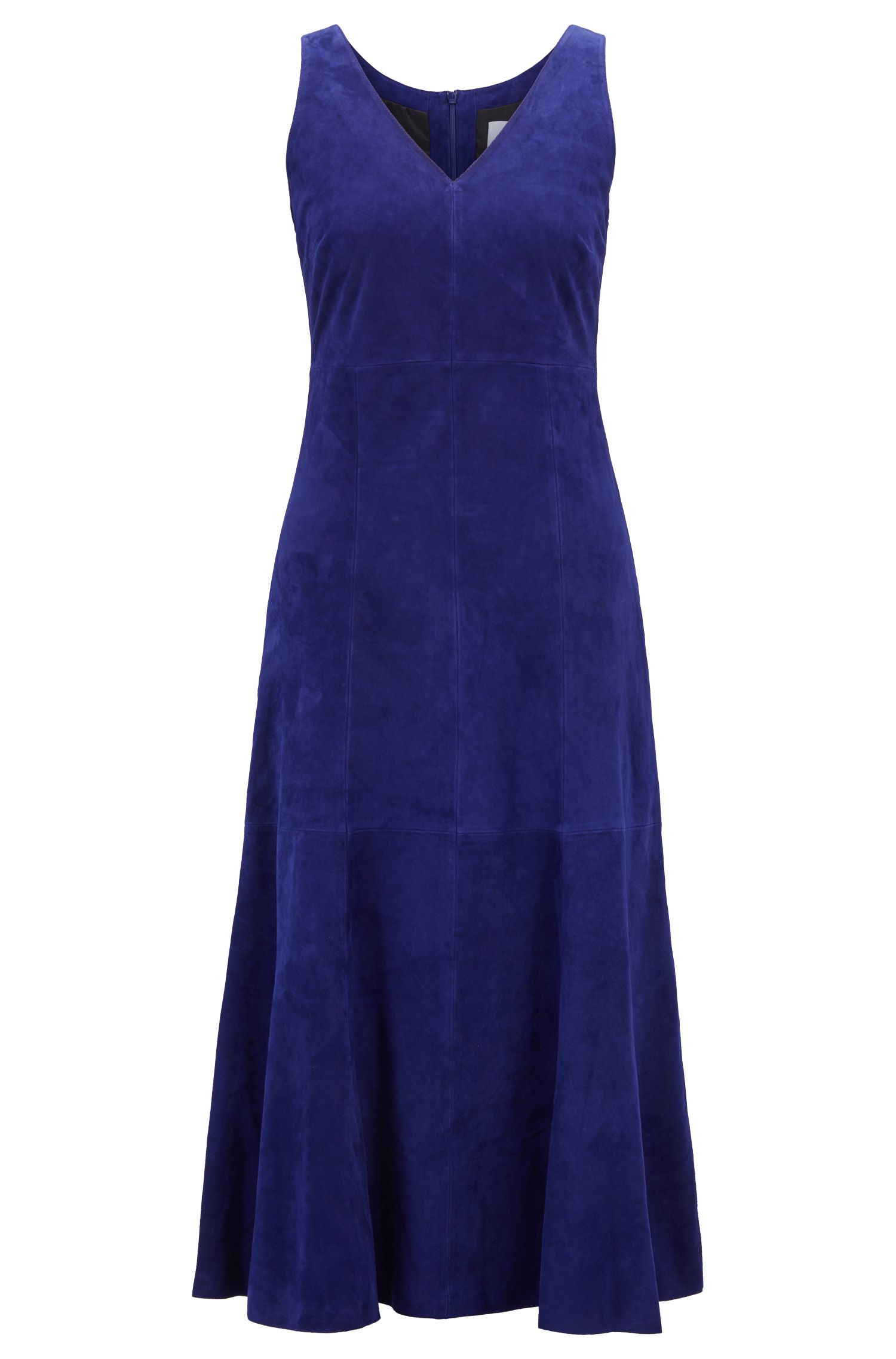 Sleeveless dress in lightweight lamb suede, Open Purple