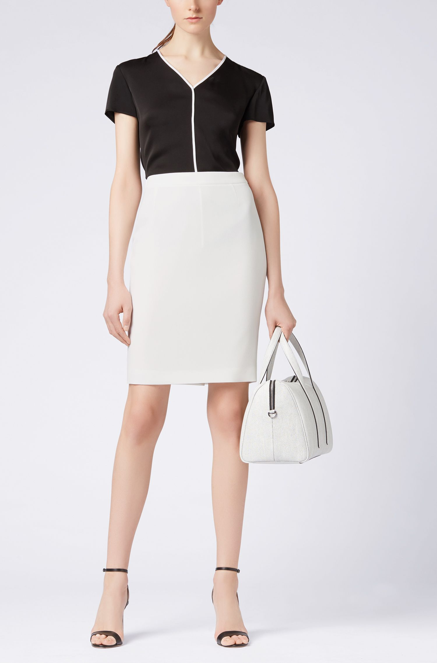 Regular-fit pencil skirt in structured crepe