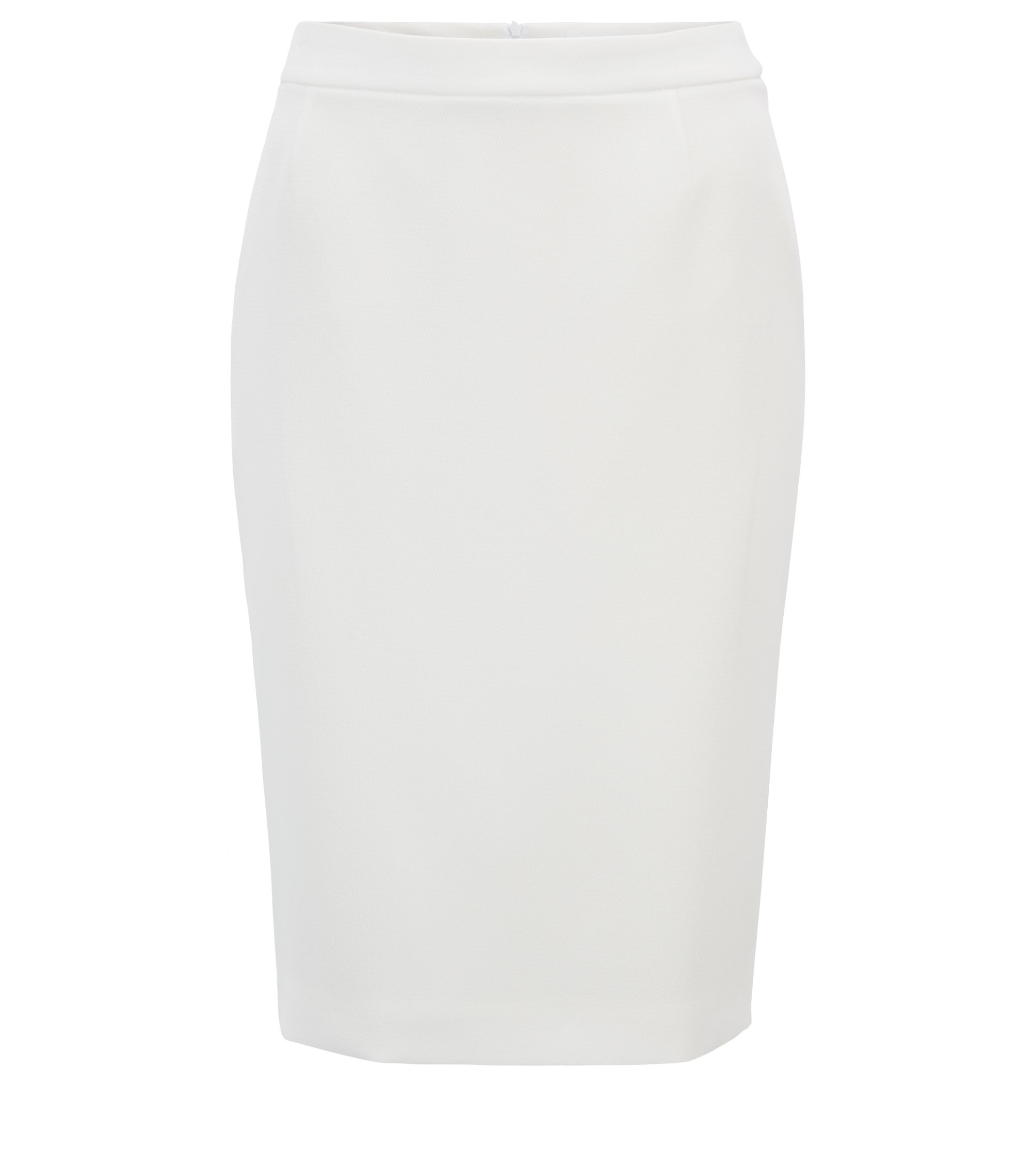 Regular-fit pencil skirt in structured crepe, Natural