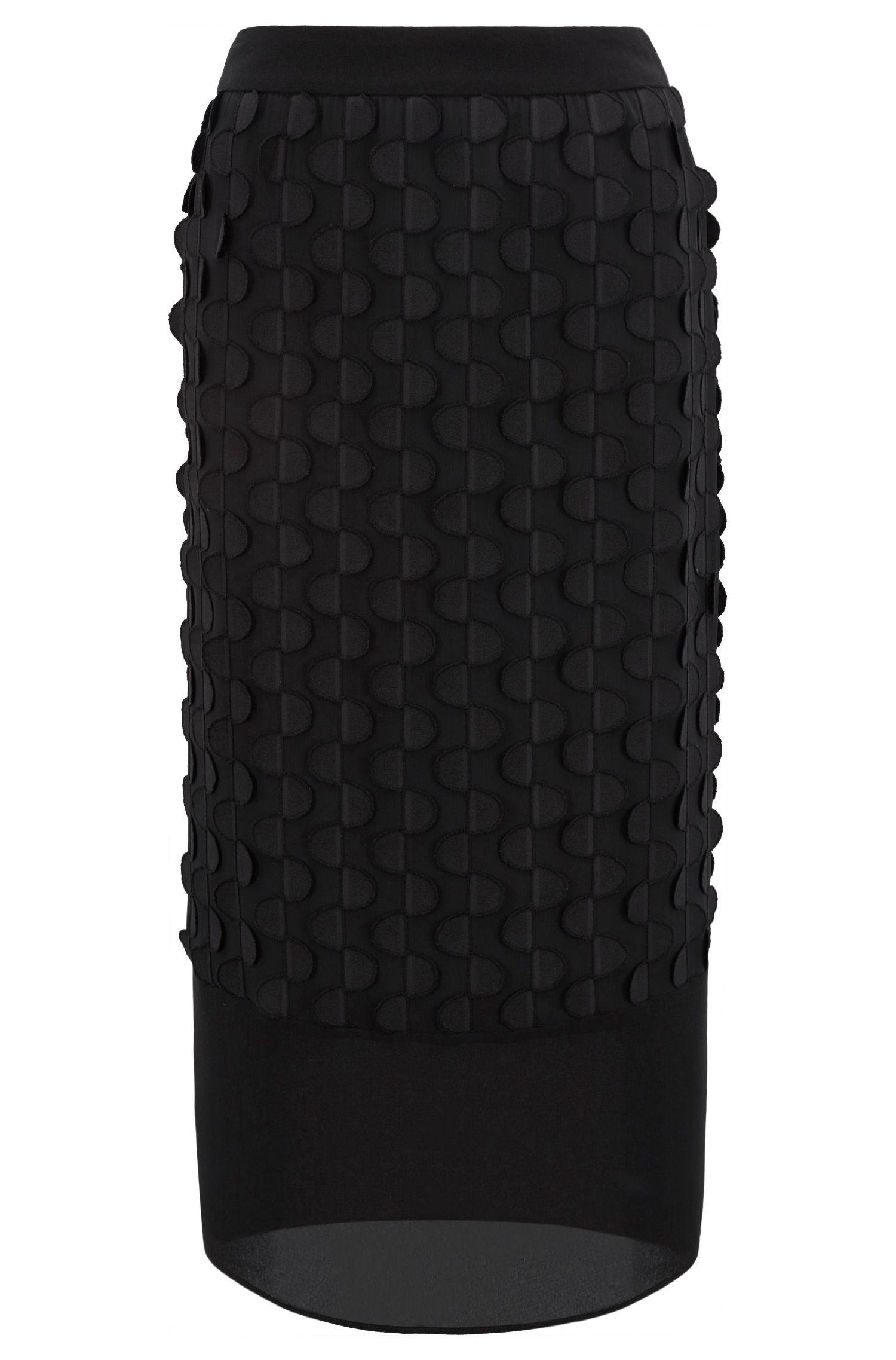Textured pencil skirt in crepe georgette, Black