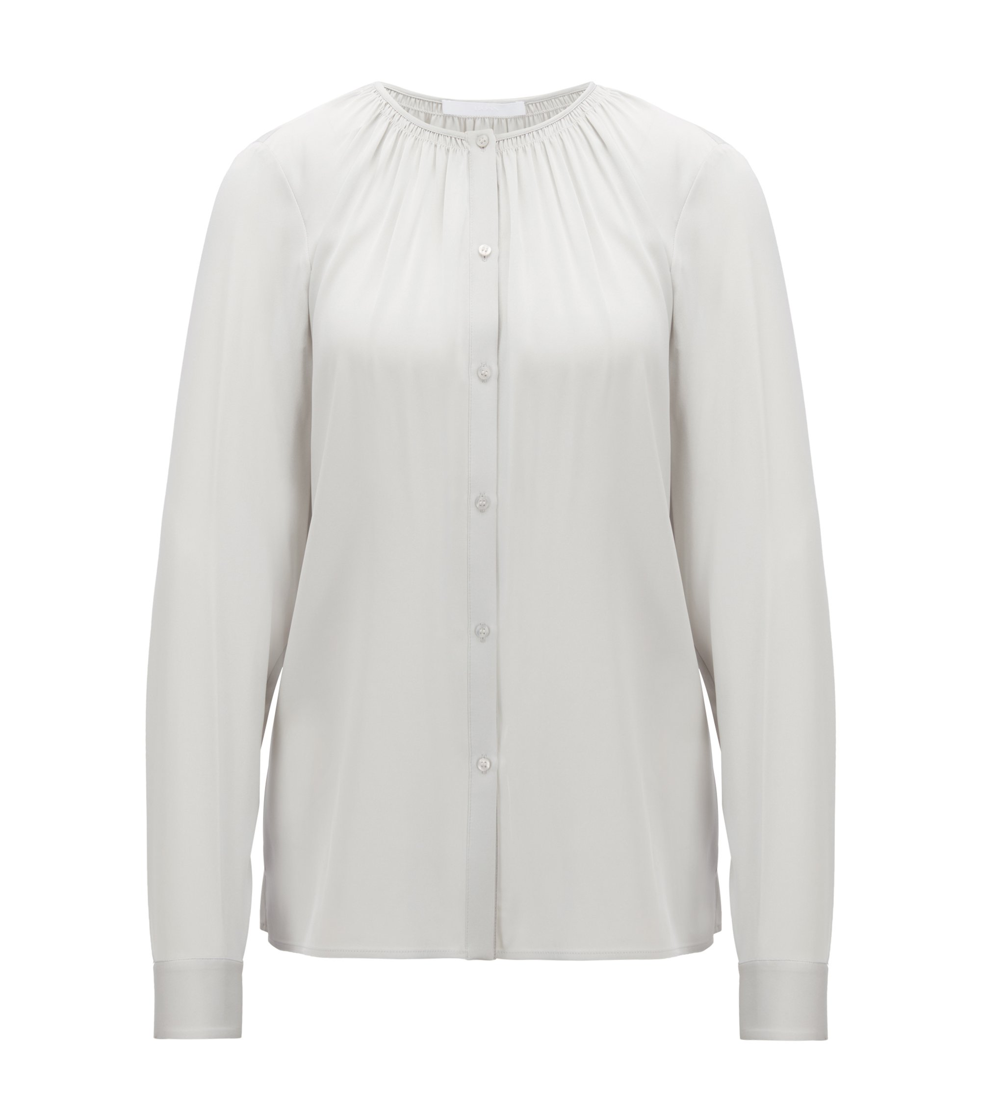 Crepe-de-chine blouse with smocked neckline, Silver