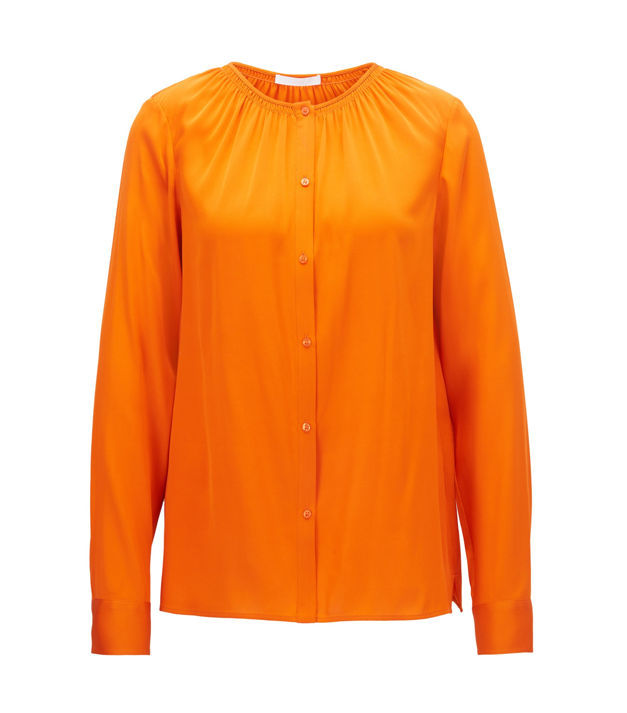 Crepe-de-chine blouse with smocked neckline, Orange