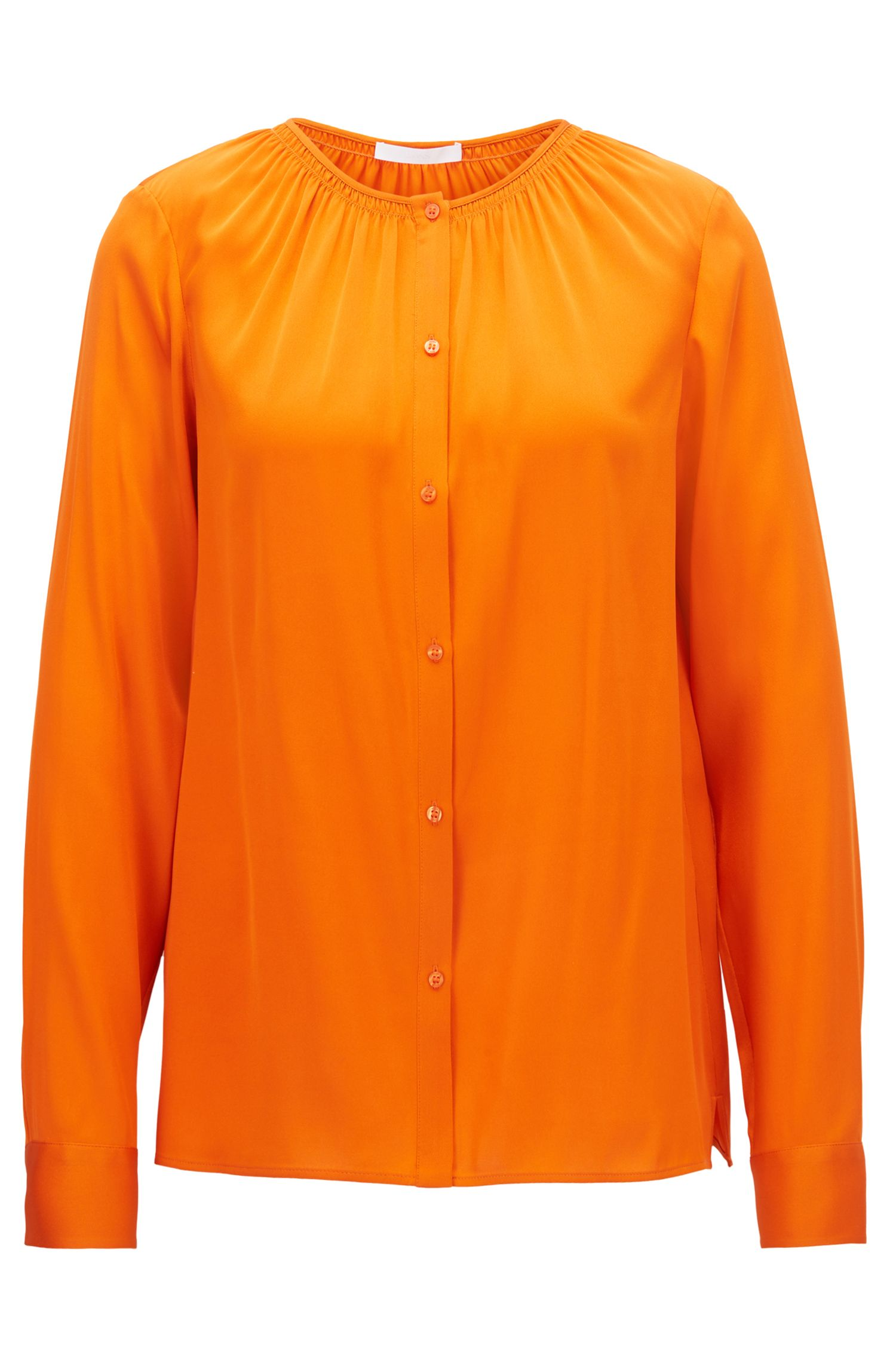 Crepe-de-chine blouse with smocked neckline
