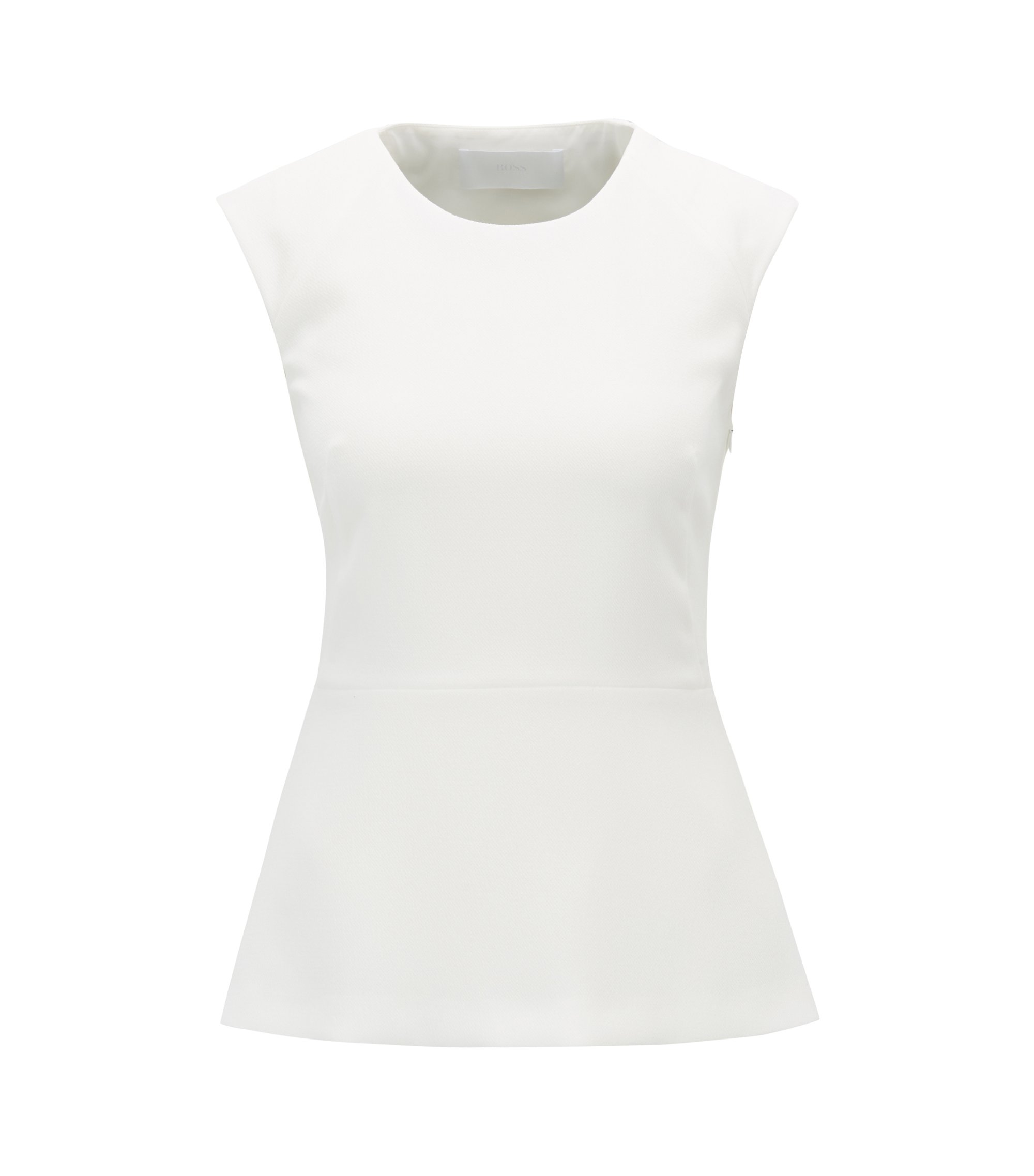 Slim-fit top in structured crepe with cutout detail, Natural