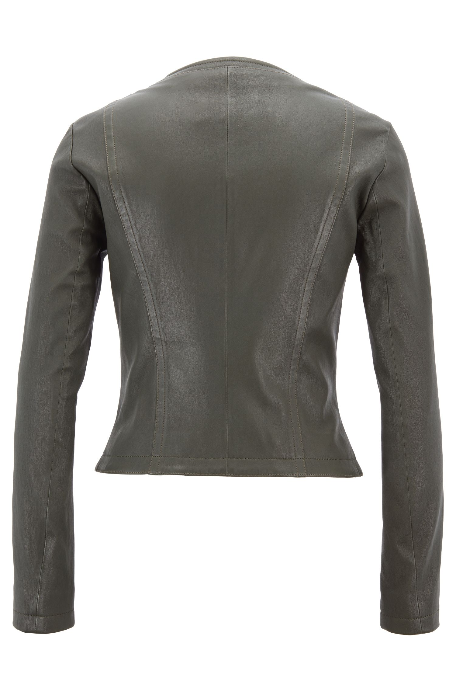 Veste Slim Fit sans col, en cuir d'agneau stretch