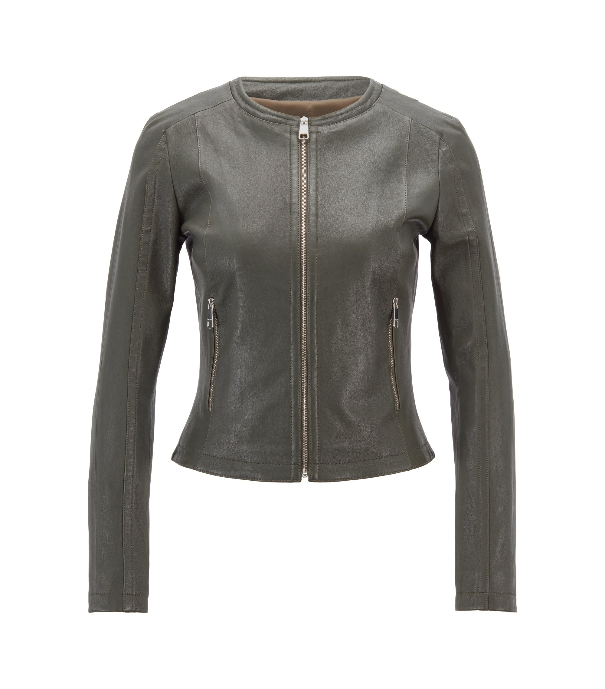 Slim-fit collarless leather jacket in stretch lambskin, Open Green