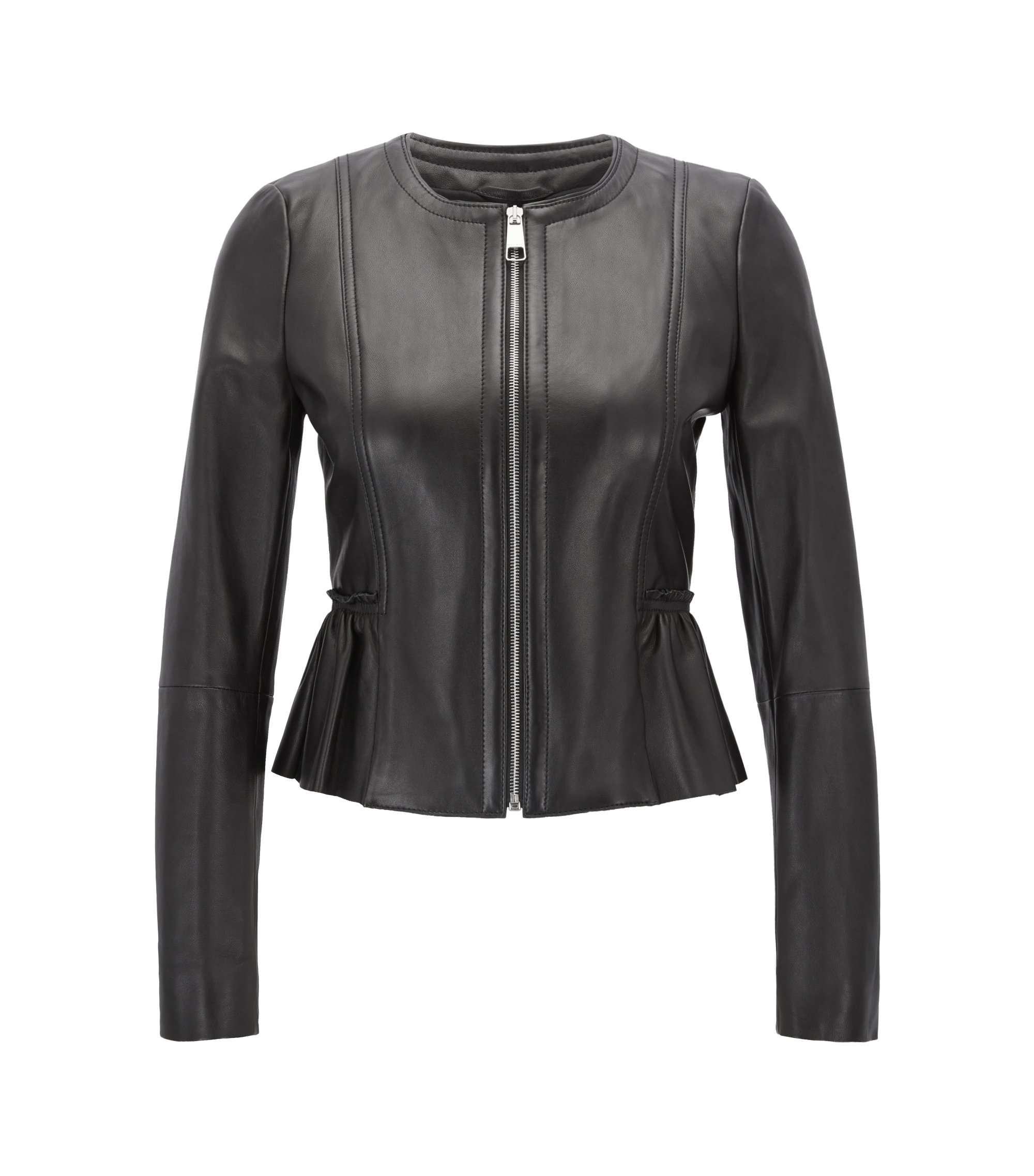 Peplum jacket in lambskin nappa leather, Black