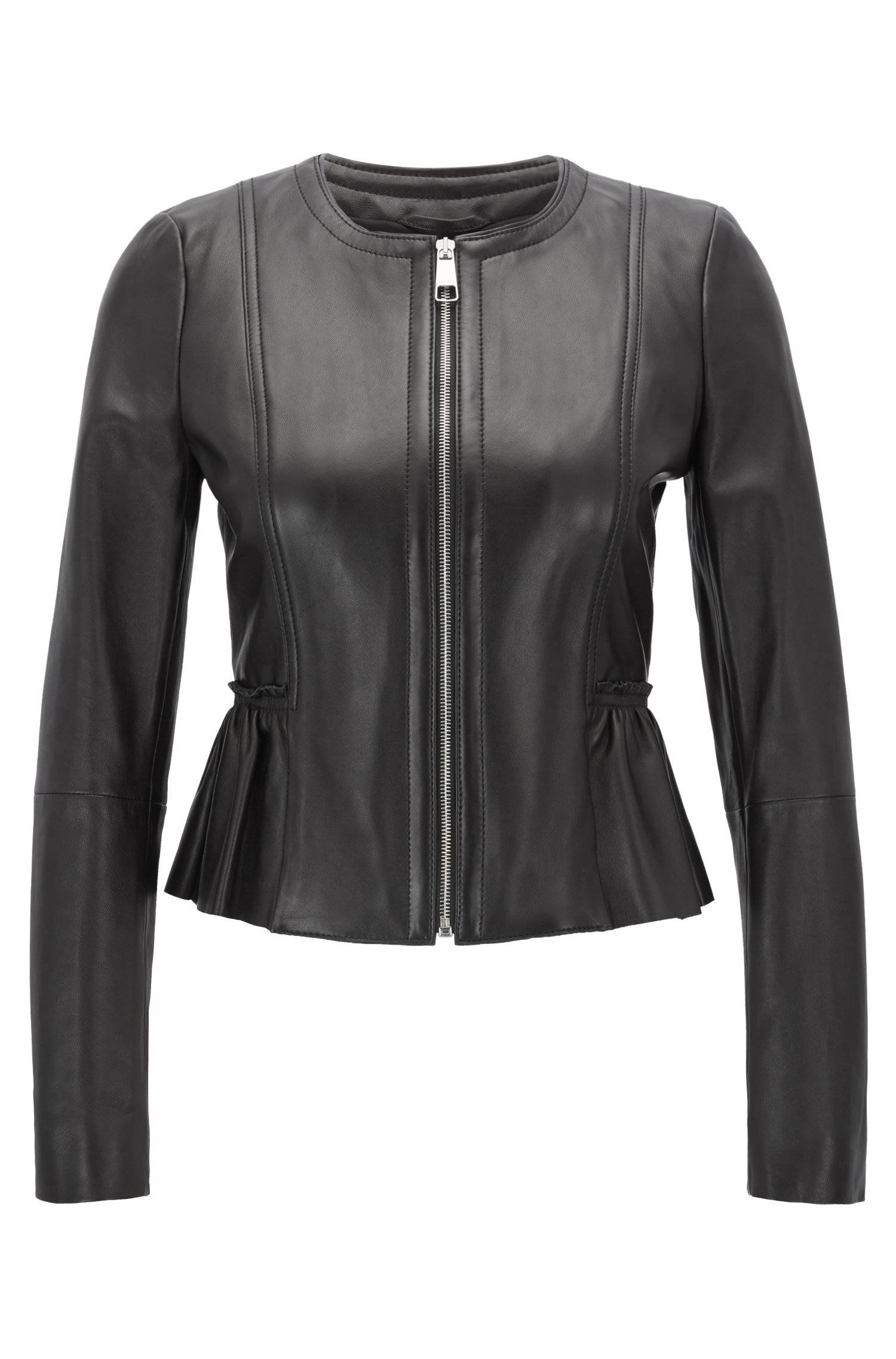 Peplum jacket in lambskin nappa leather