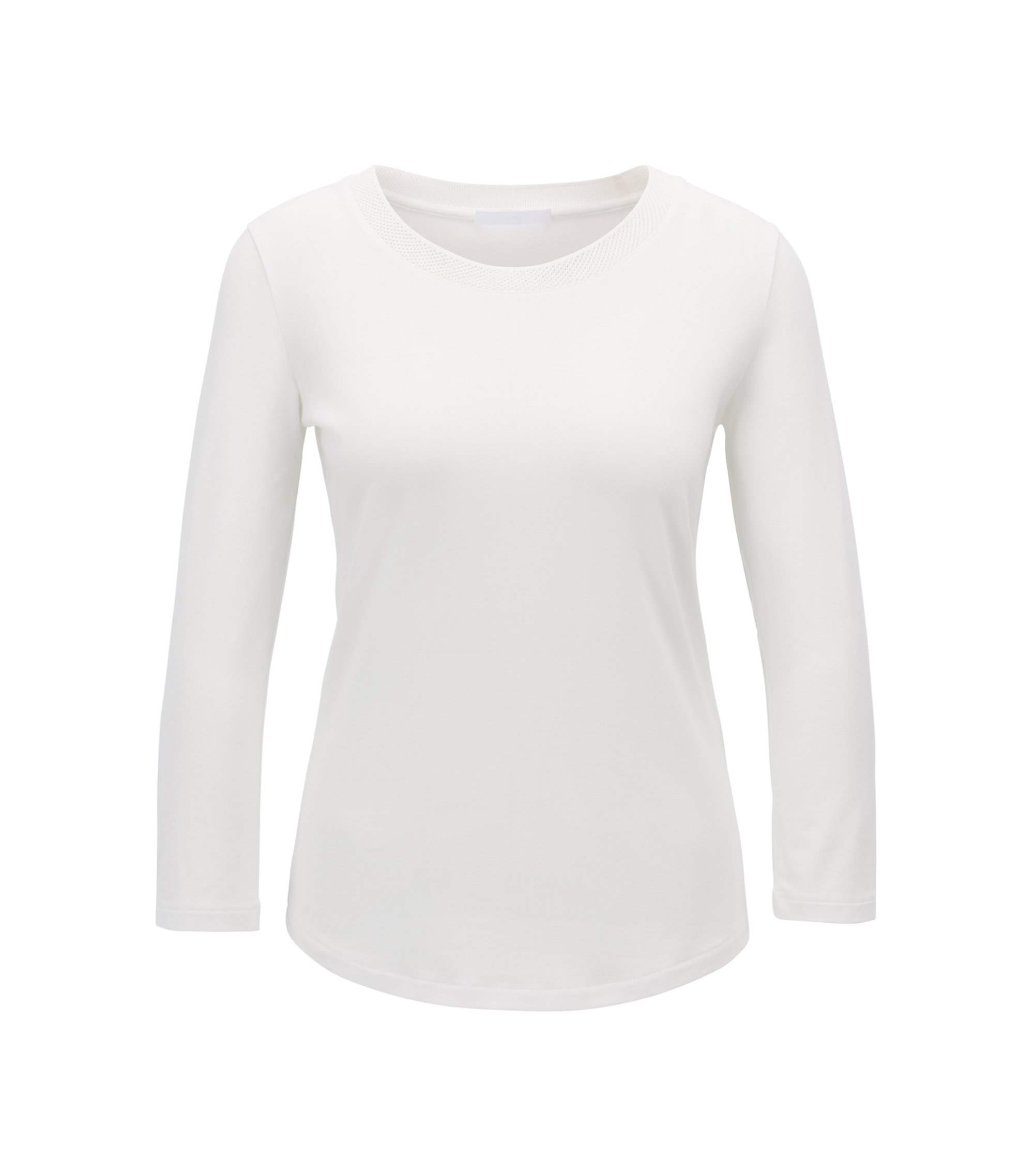 Three-quarter sleeve top with mesh neckline, Natural