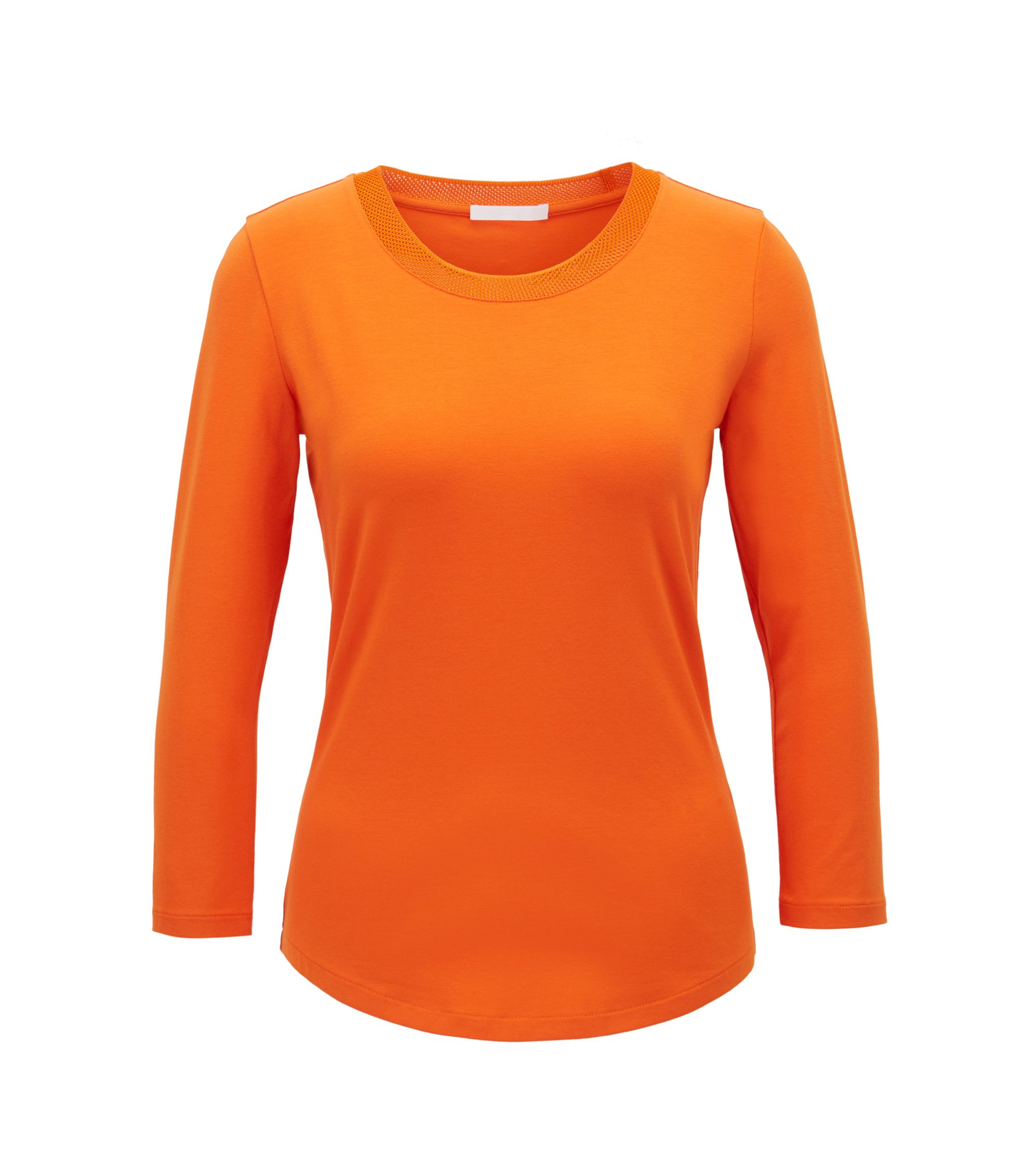 Three-quarter sleeve top with mesh neckline, Orange