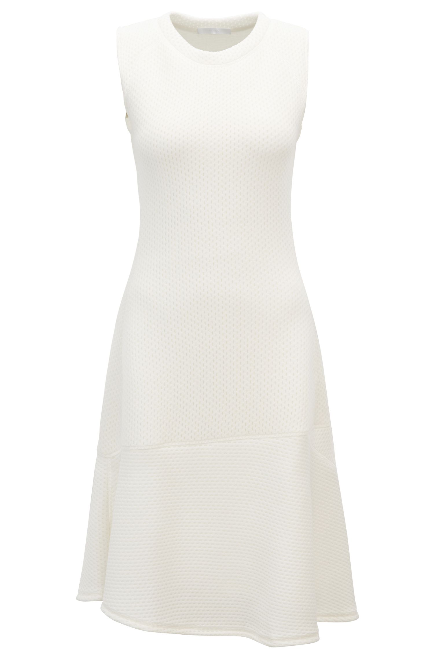 Sleeveless jersey dress with mesh structure, Natural