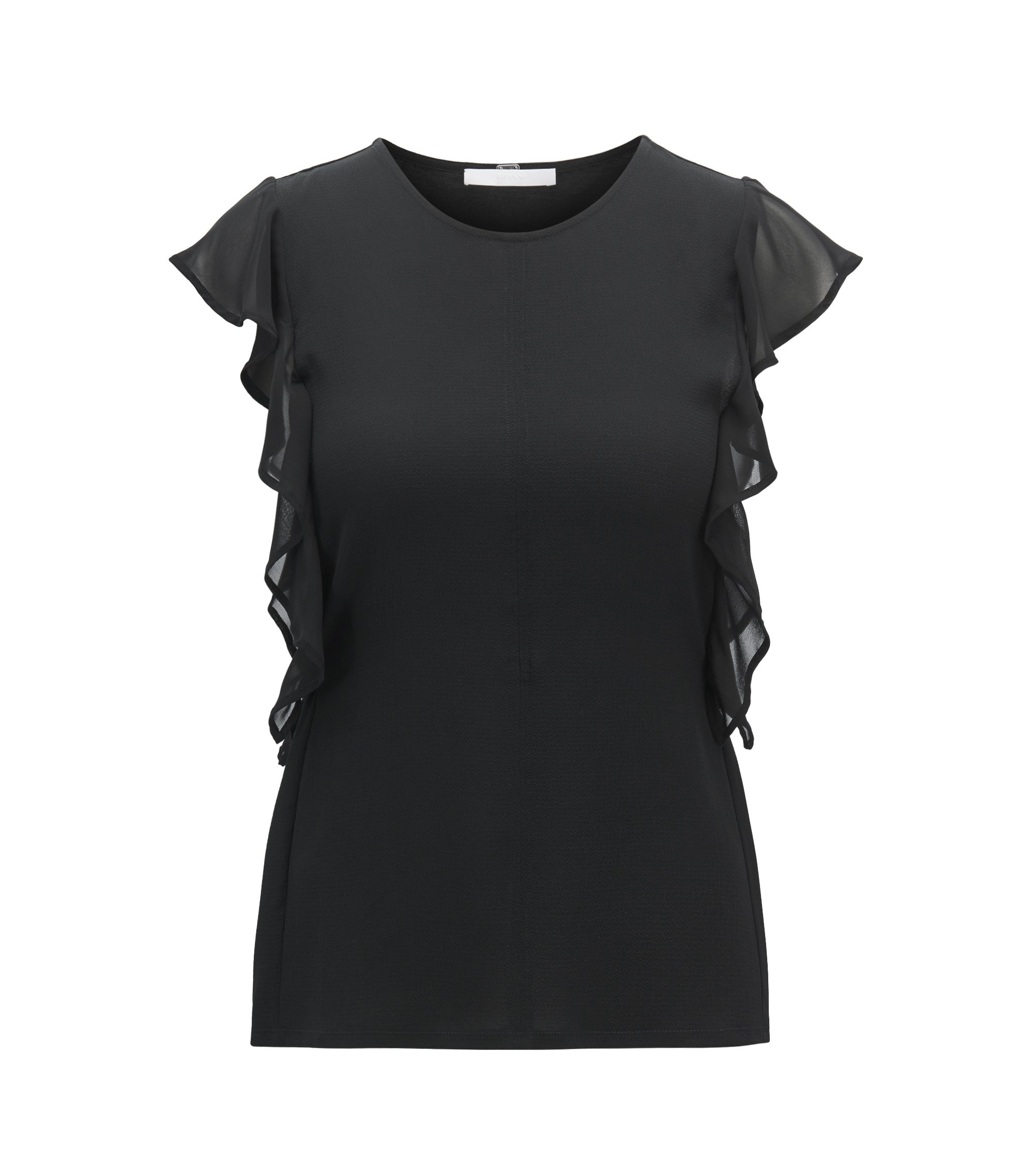 Sleeveless top with frill detail and side-seam buttons, Black