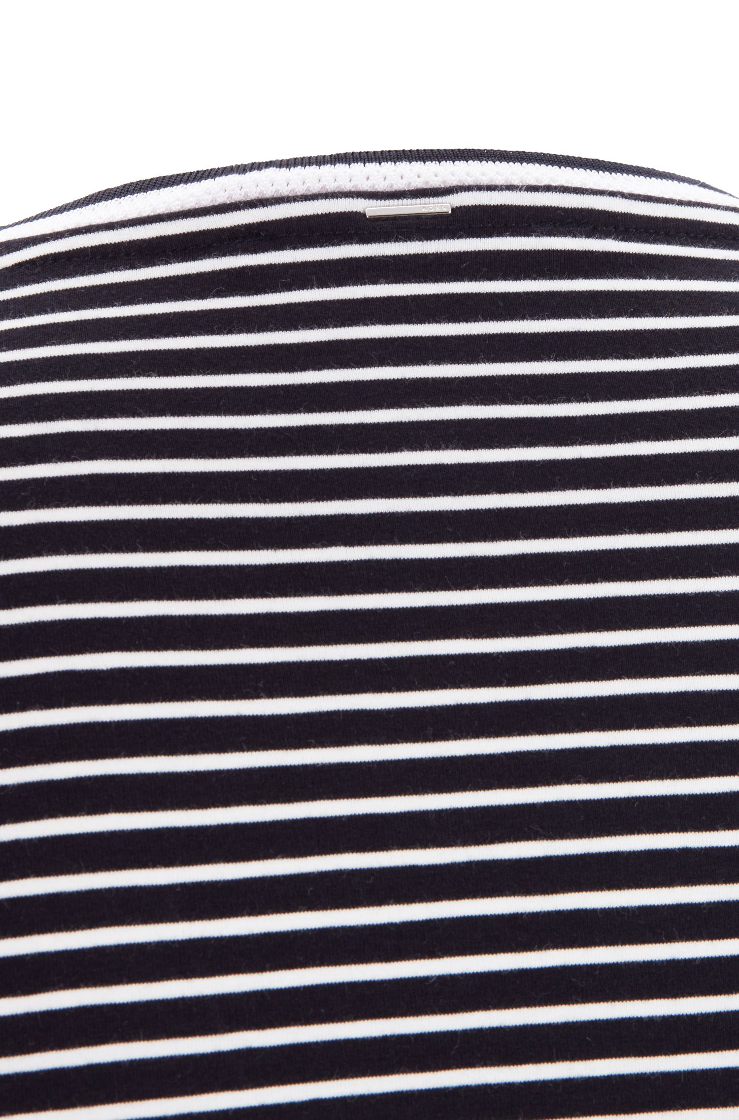 Striped T-shirt in stretch fabric with mesh neckline, Blue